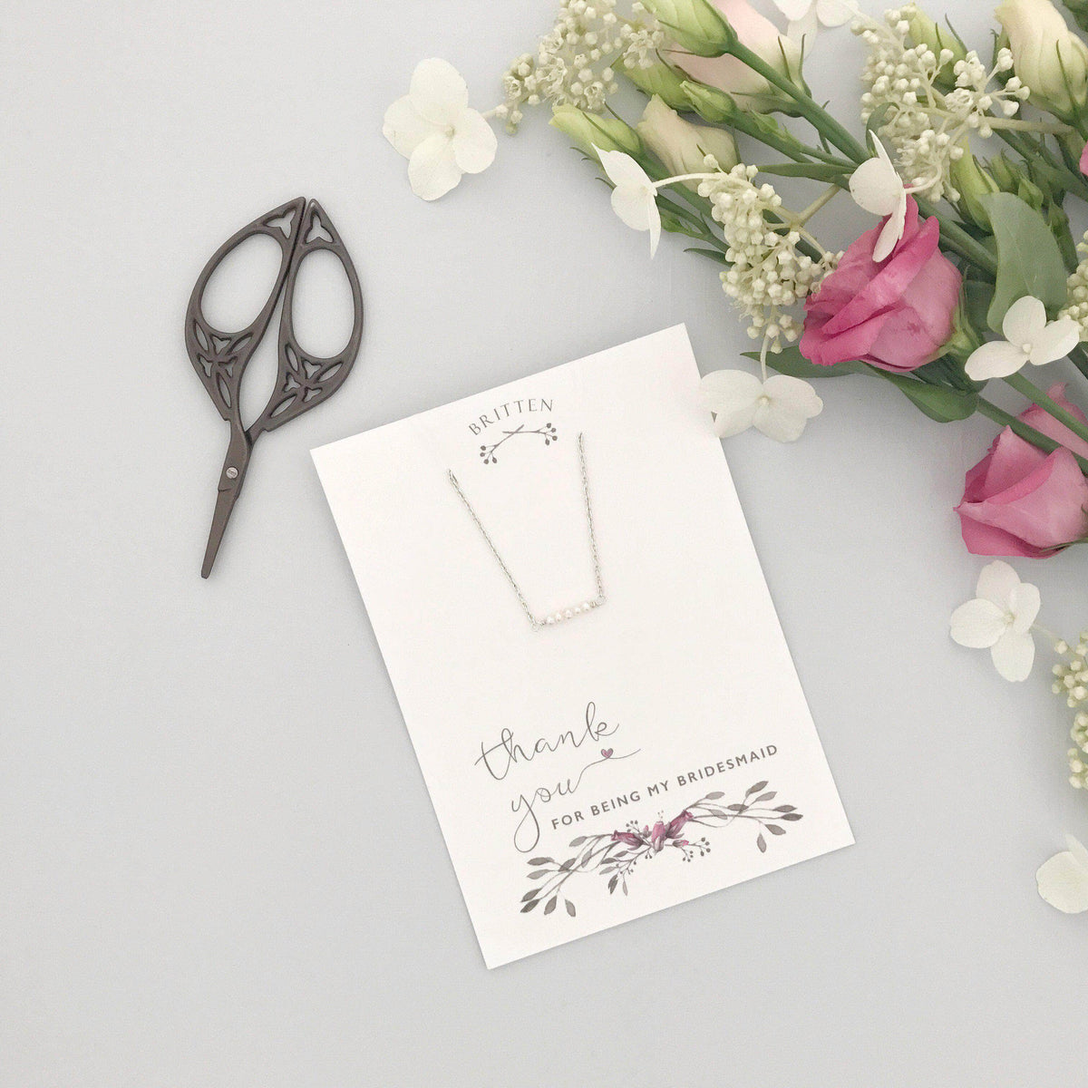 Bridesmaid Gift Silver Bridesmaid 'Thank You' gift silver bracelet - 'Freya'