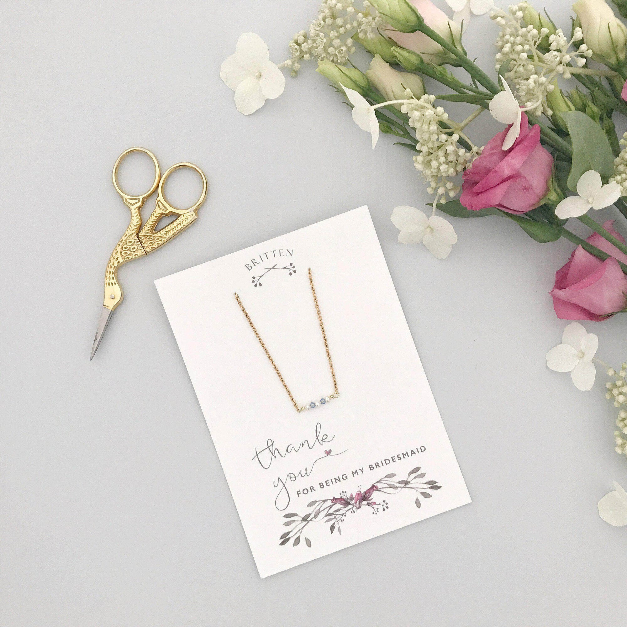 Bridesmaid Gift Gold Bridesmaid 'thank you' gift necklace - 'Mollie' in gold