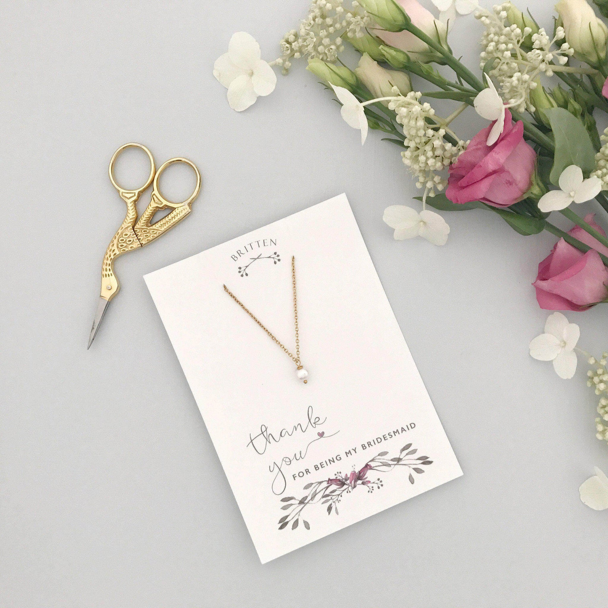 Gold and pearl bridesmaid necklace
