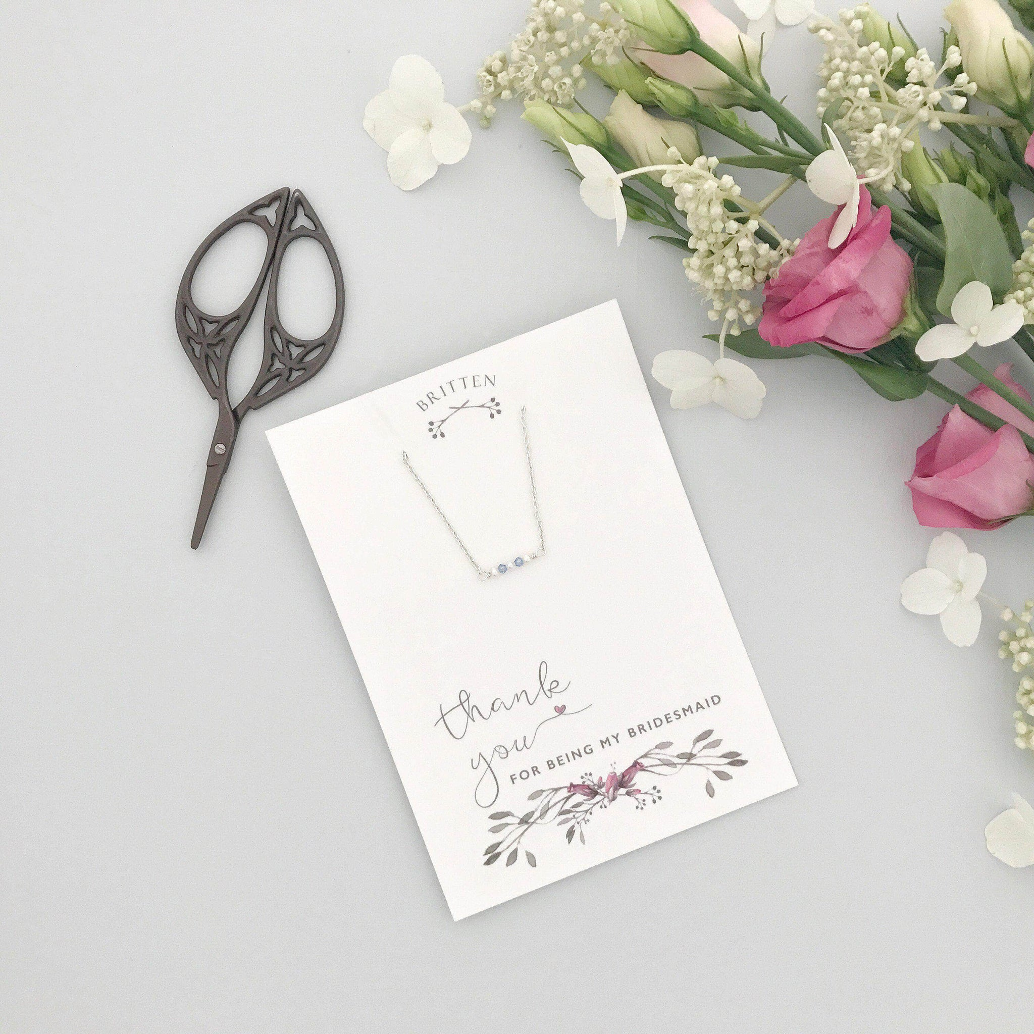 Bridesmaid 'thank you' gift bracelet - 'Mollie' in silver