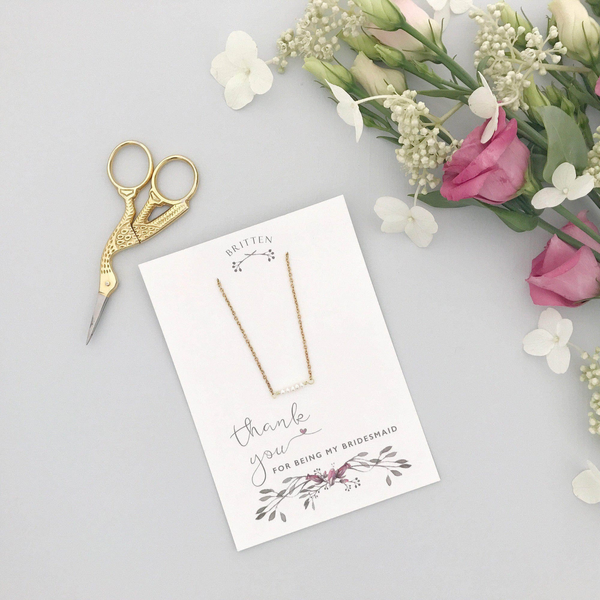 Bridesmaid Gift Gold Bridesmaid 'Thank You' gift gold necklace - 'Freya'