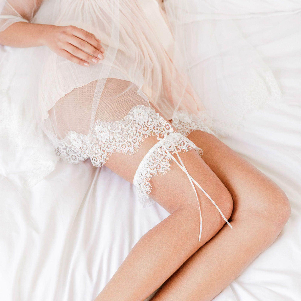 Wedding Garter Eyelash lace wedding garter with delicate satin bow- 'Kayla'