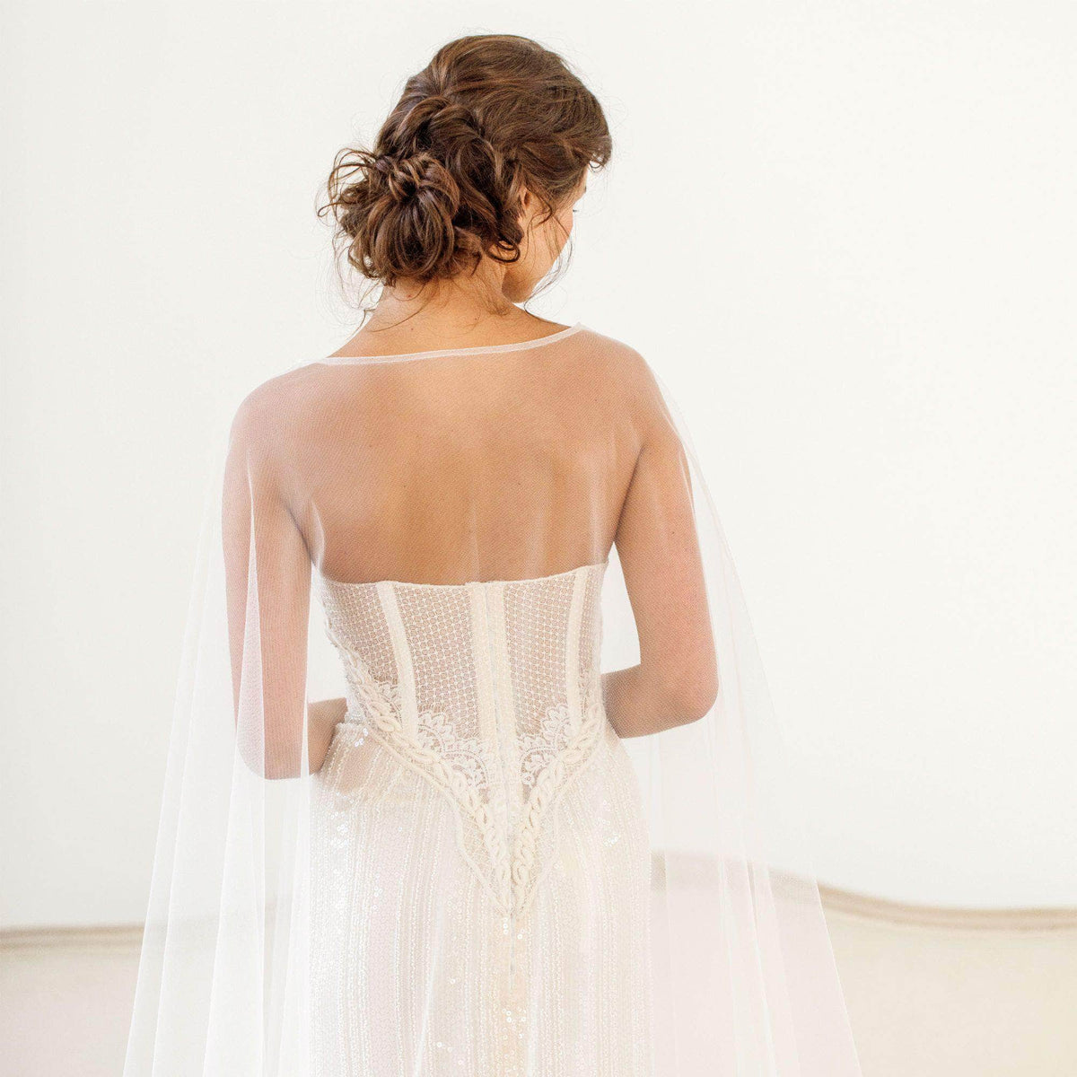 tulle wedding cape