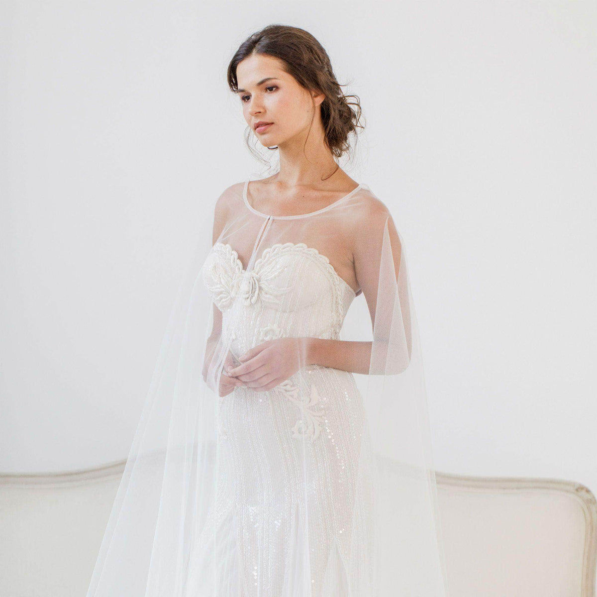 Wedding Cover Up Tulle bridal cape - 'Imogen'