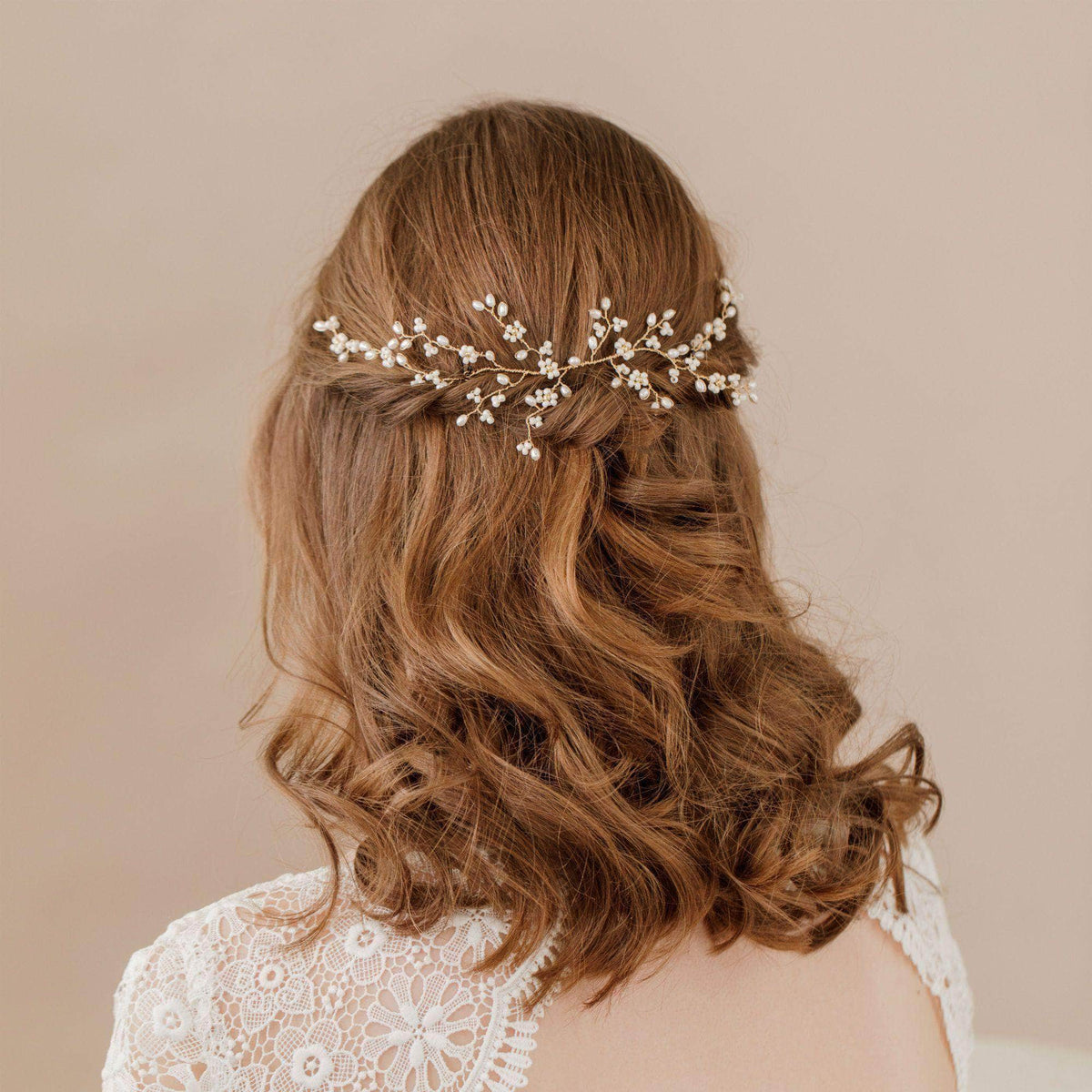 Wedding Hairvine Gold floral multipiece with medium centrepiece  - 'Flora'