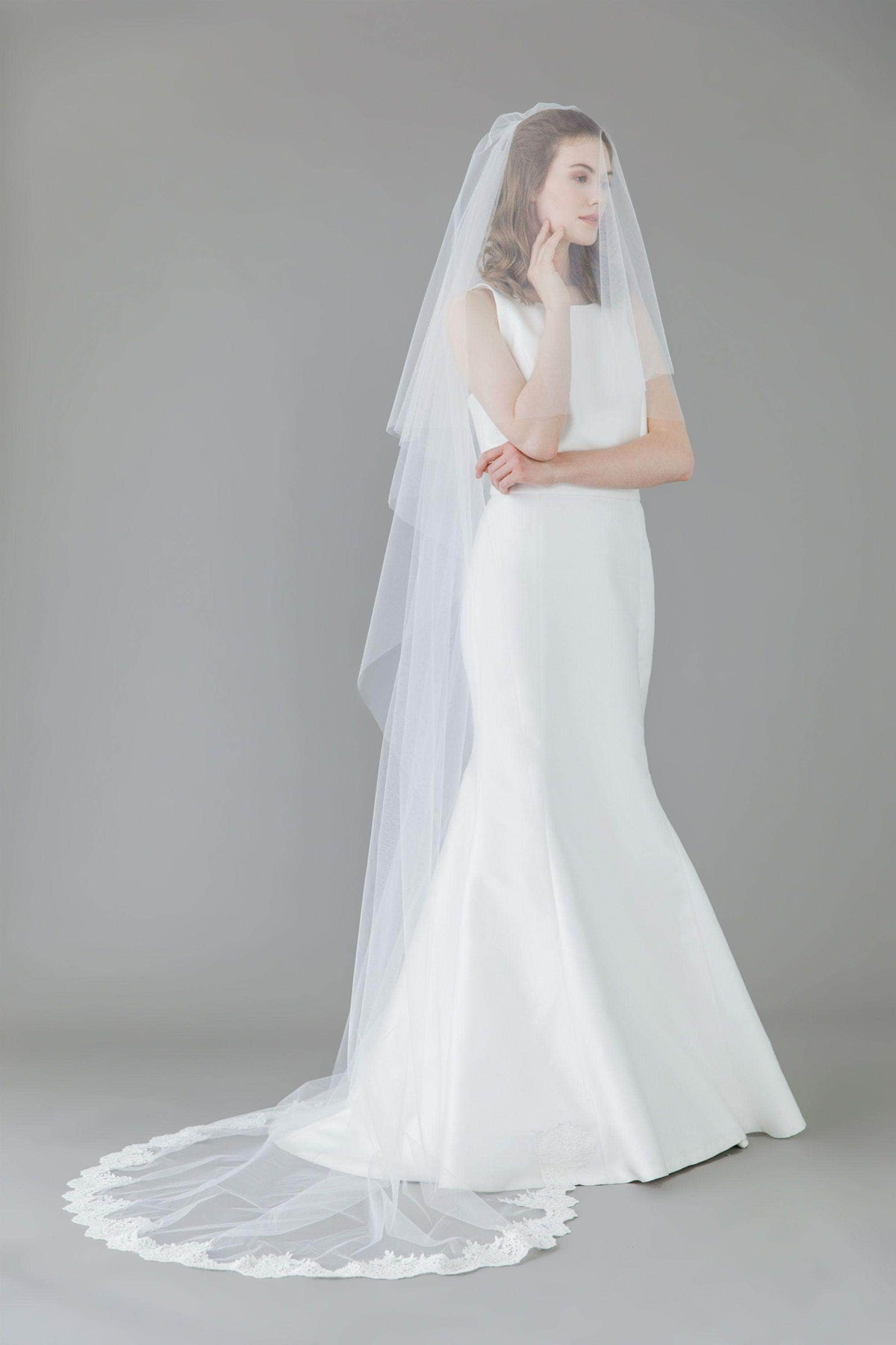 Wedding Veil Two tier semi lace edged ivory wedding veil - 'Prudence'