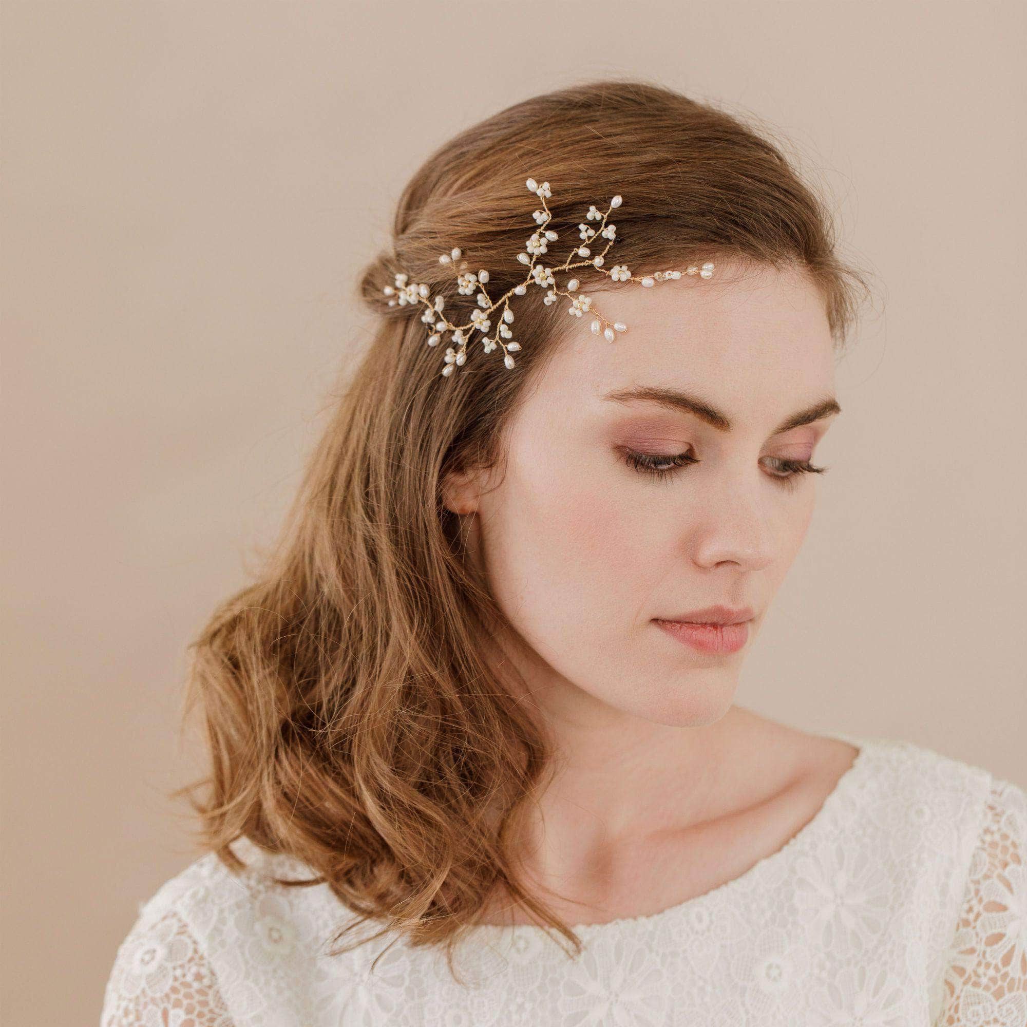 flower wedding head piece. Gold floral medium hair centrepiece -  Flora  1082556a860