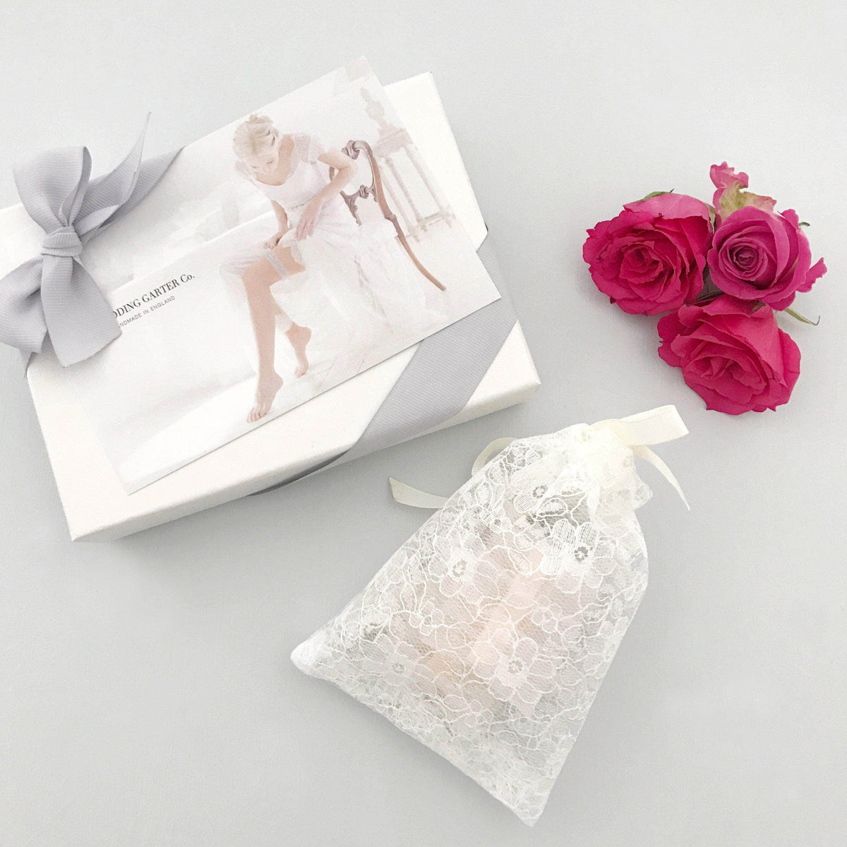 Wedding Garter Champagne lace wedding garter with rose gold stone - 'Ava'
