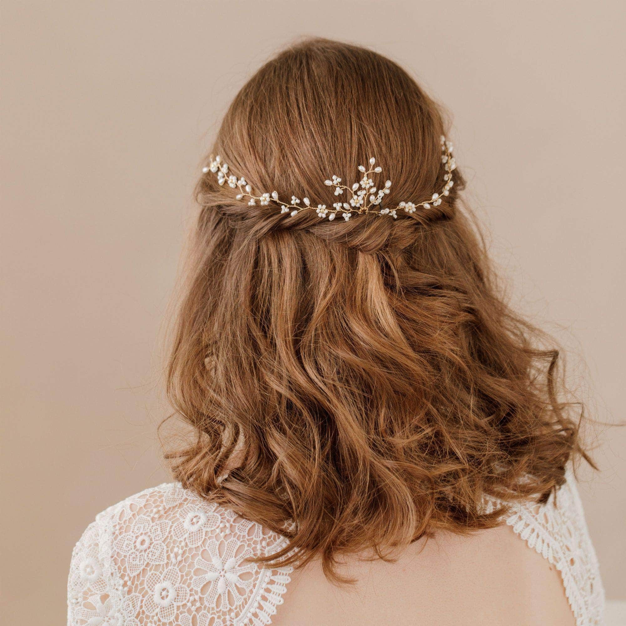 Wedding Hairvine Gold floral multipiece with small centrepiece  - 'Flora'
