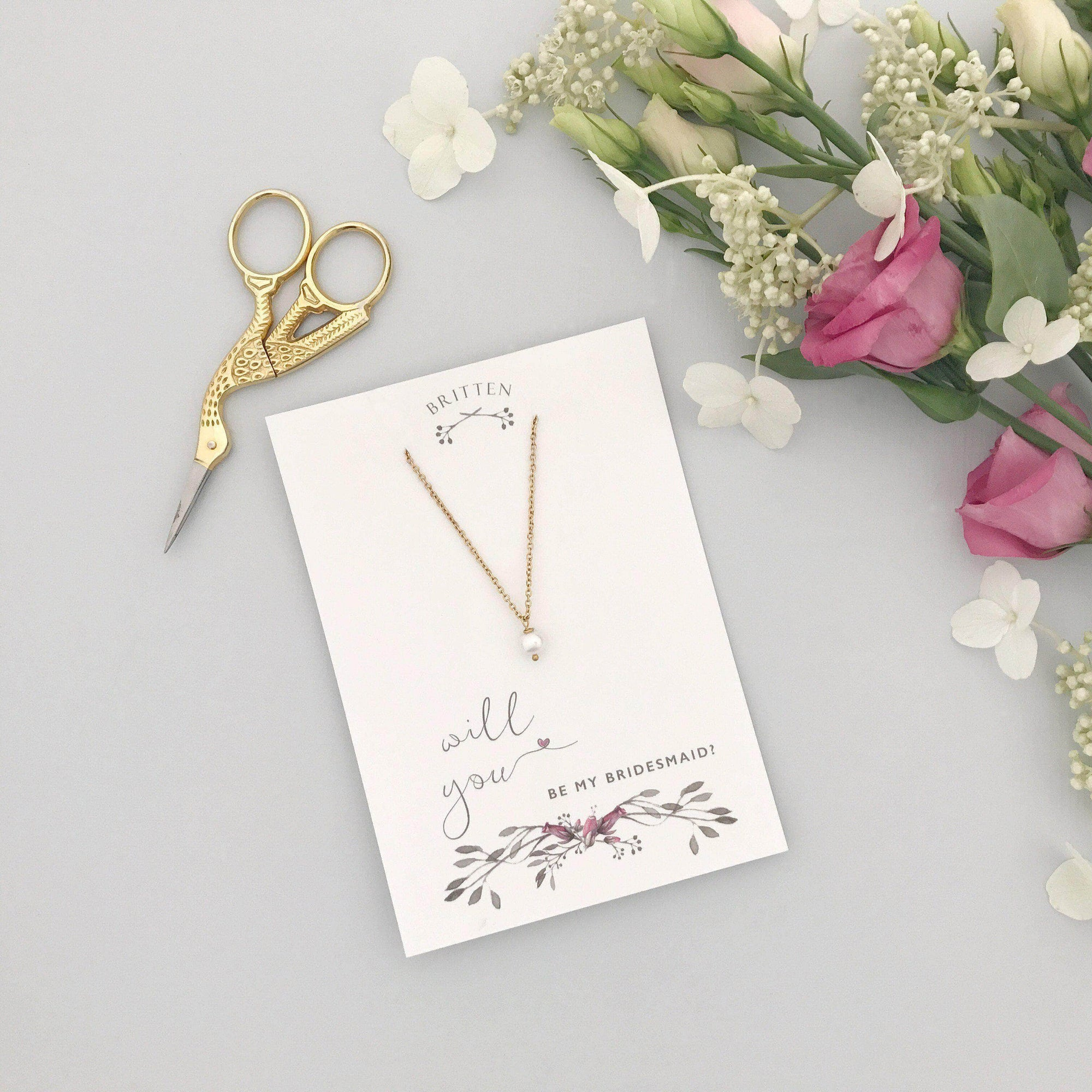 Bridesmaid Gift Gold Will you be my bridesmaid gift necklace - 'Seville' in gold