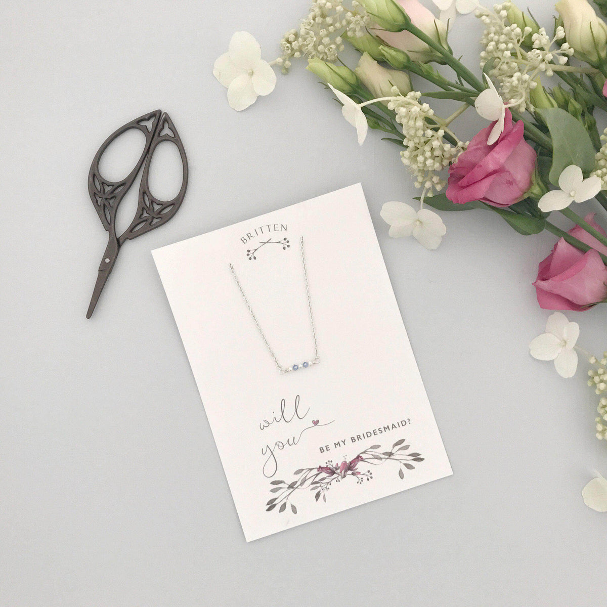 Bridesmaid Gift Silver Bridesmaid 'thank you' gift necklace - 'Mollie' in silver