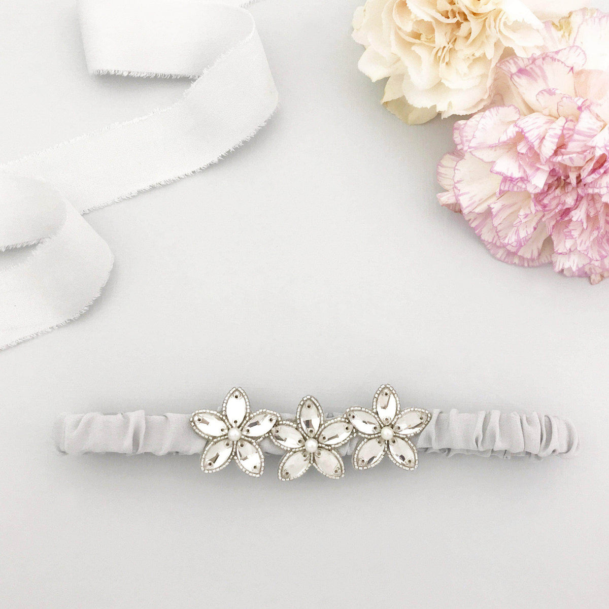 Wedding Garter Pale blue / Extra small 35-40cm (13.5-16 inch) Embellished silk wedding garter (various colours) - 'Joi'