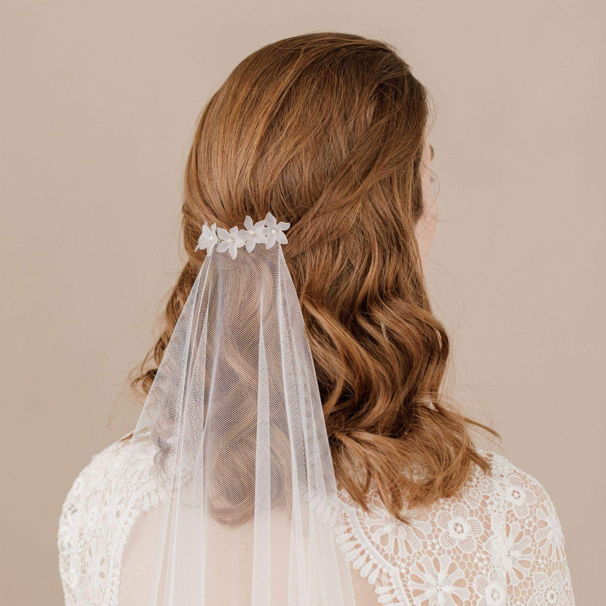 Wedding Hairvine Silver floral pearl hair centrepiece - 'Elsa'