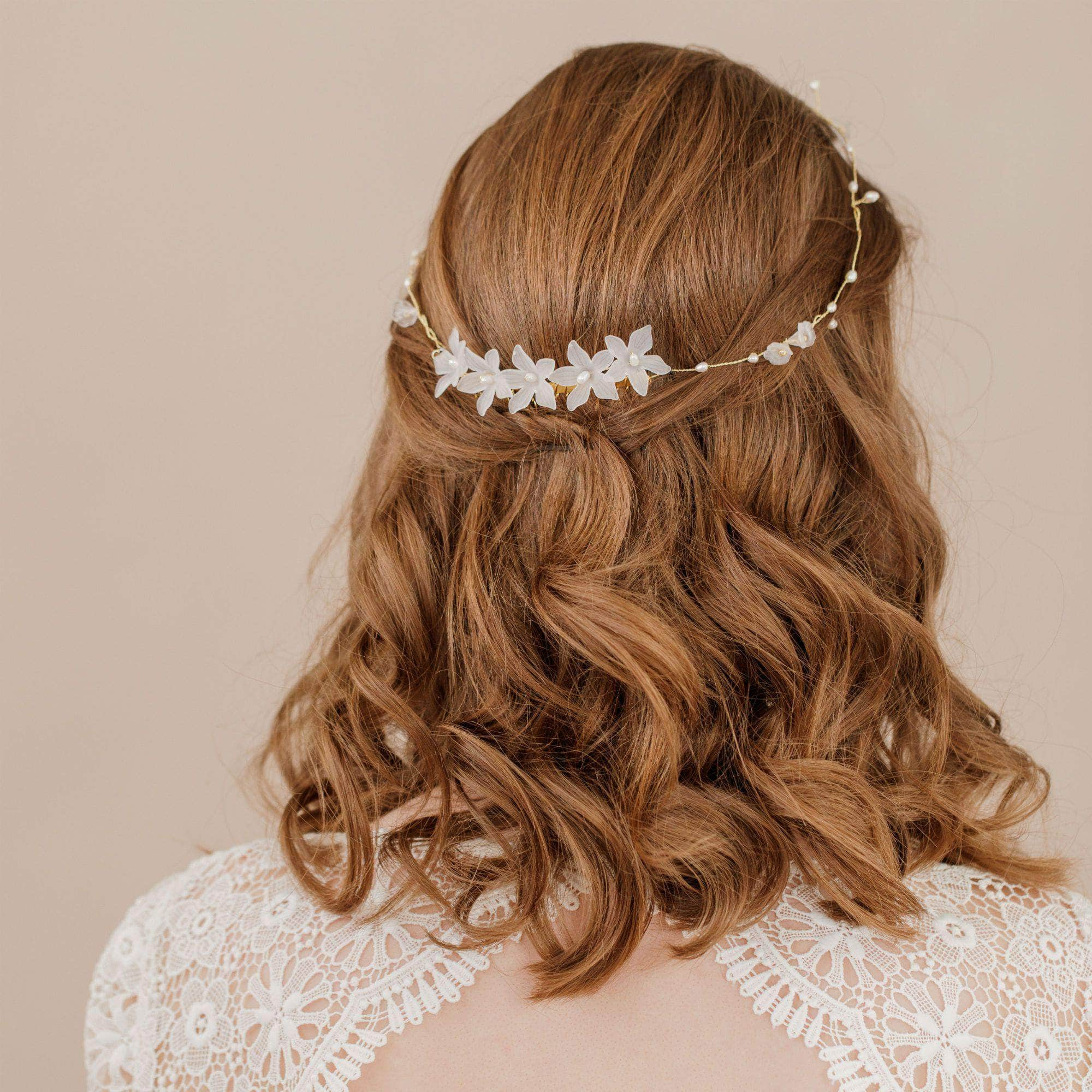 Delicate flower and freshwater pearl hair piece