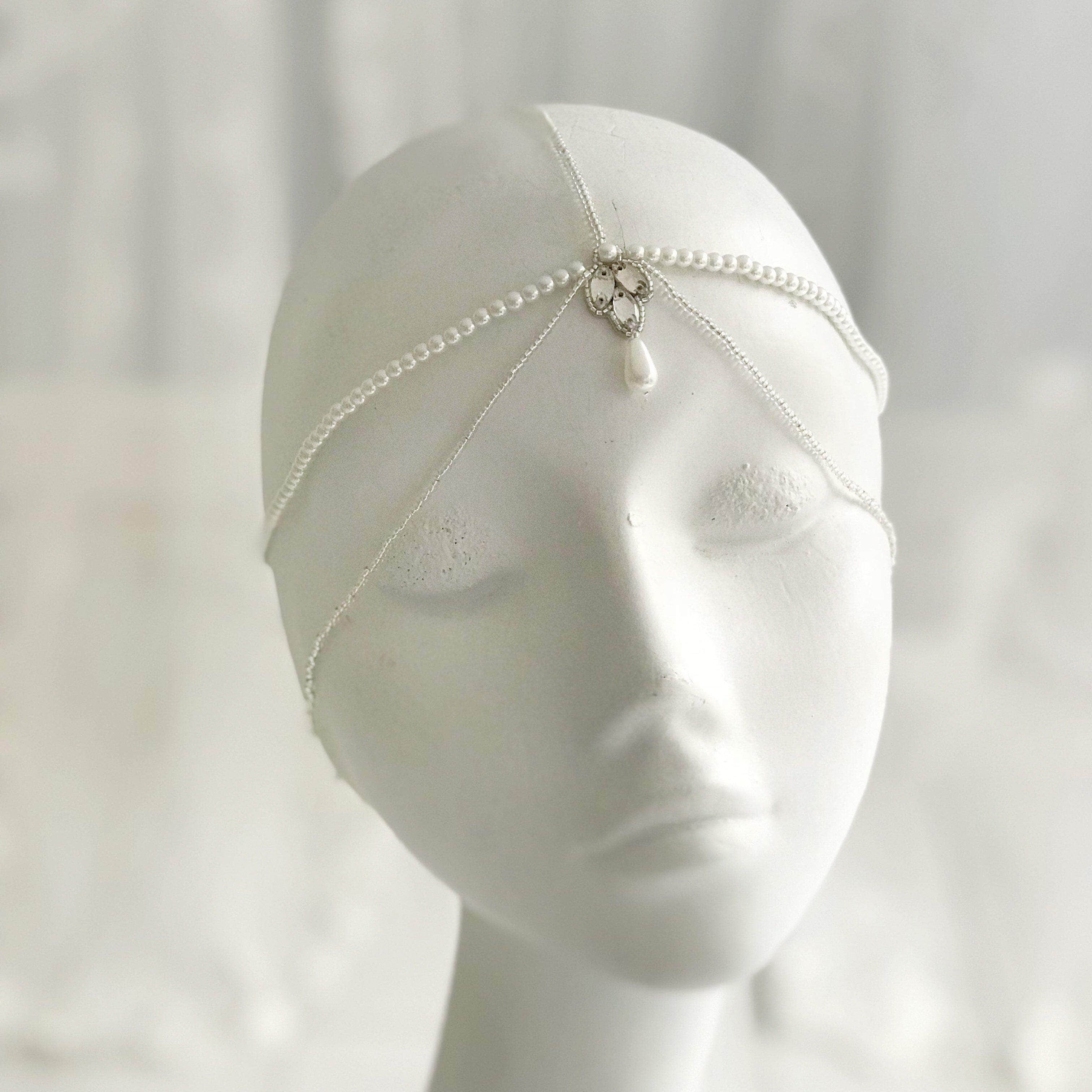 Pearl and silver bridal head chain- River