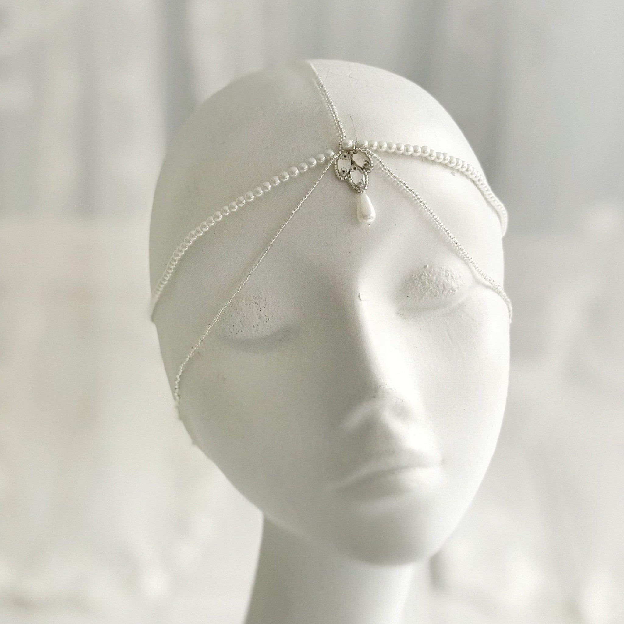 silver and pearl wedding head chain