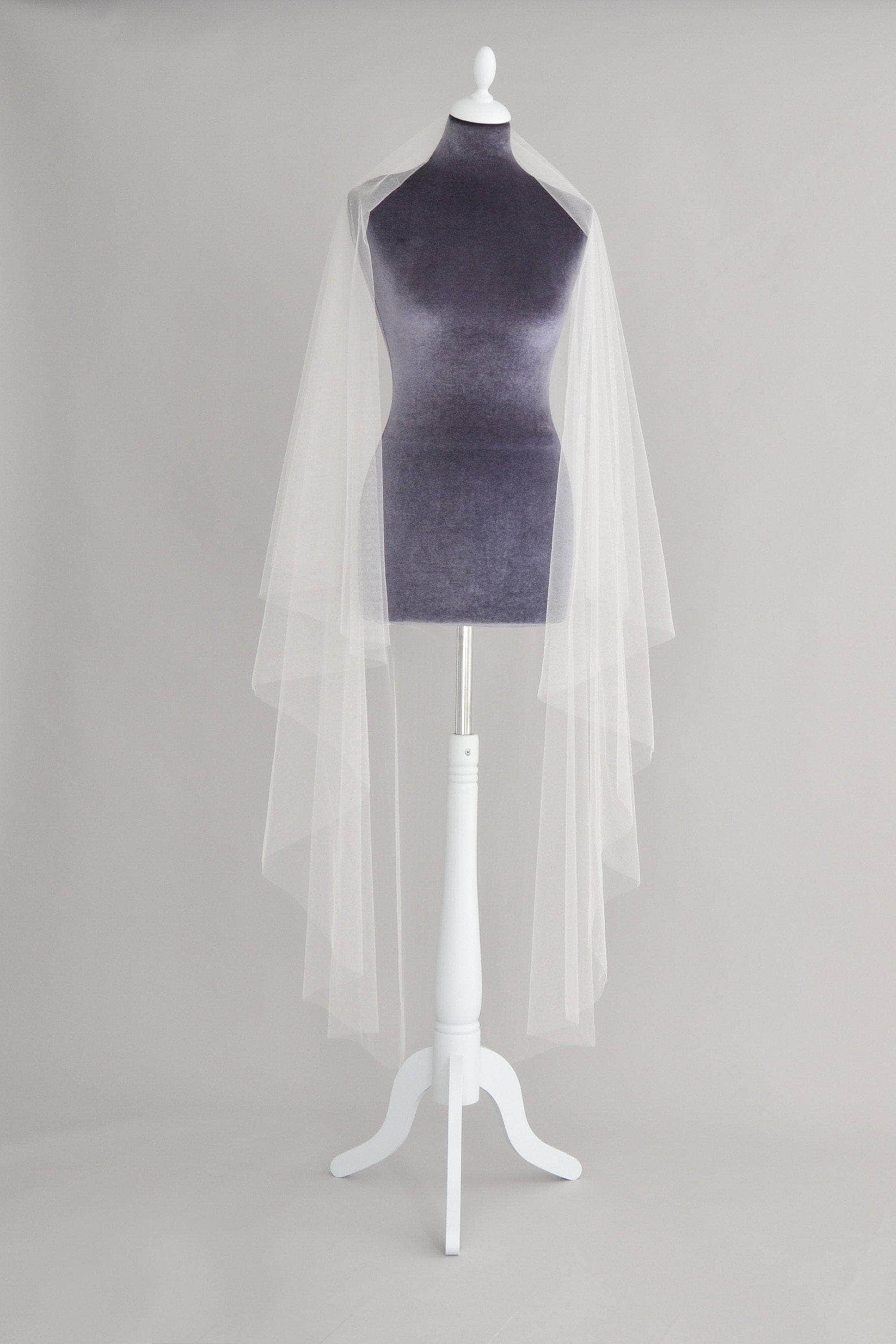 Wedding Veil Crisp silk drop wedding veil - 'Elena'