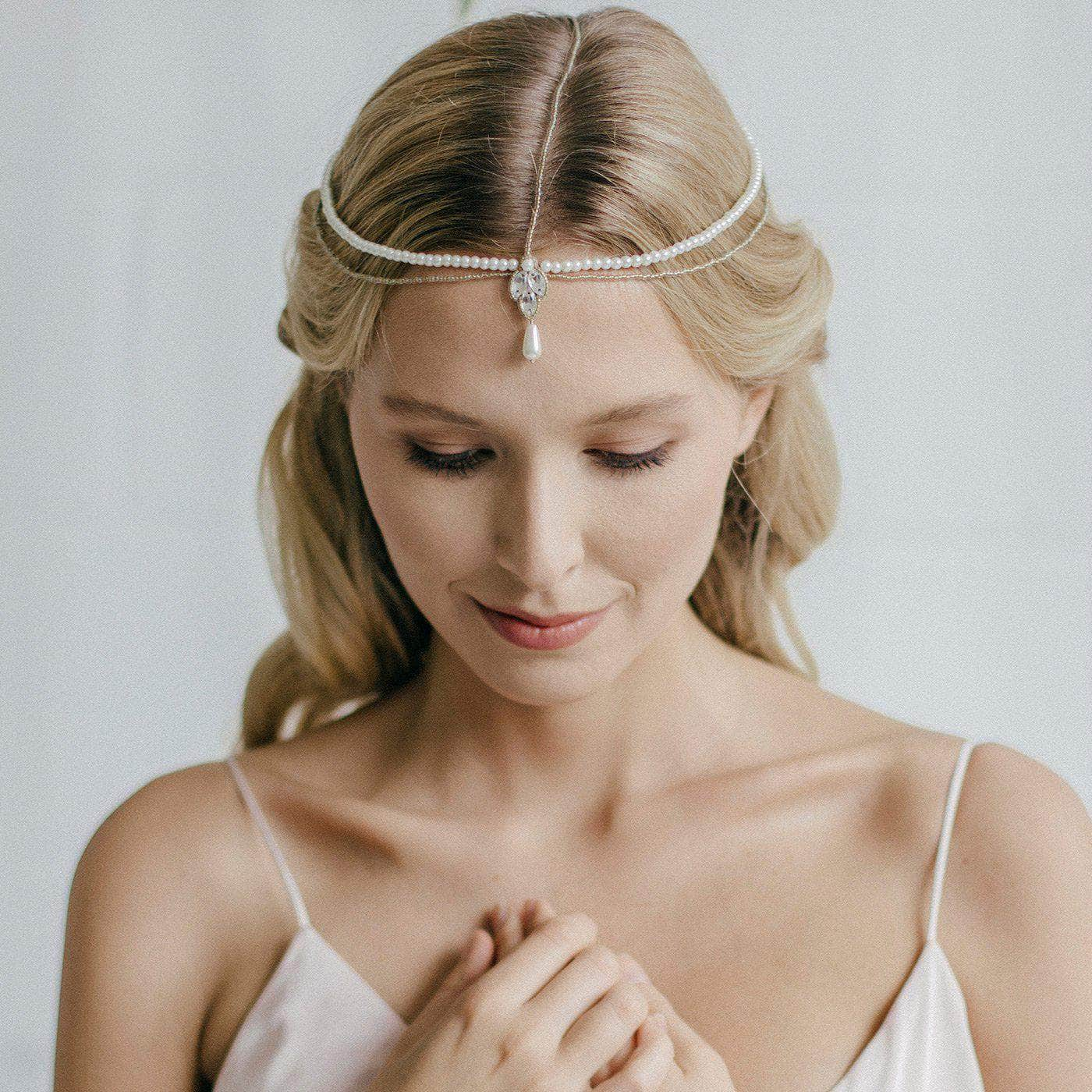 Pearl and gold bridal head chain- River | Britten Weddings