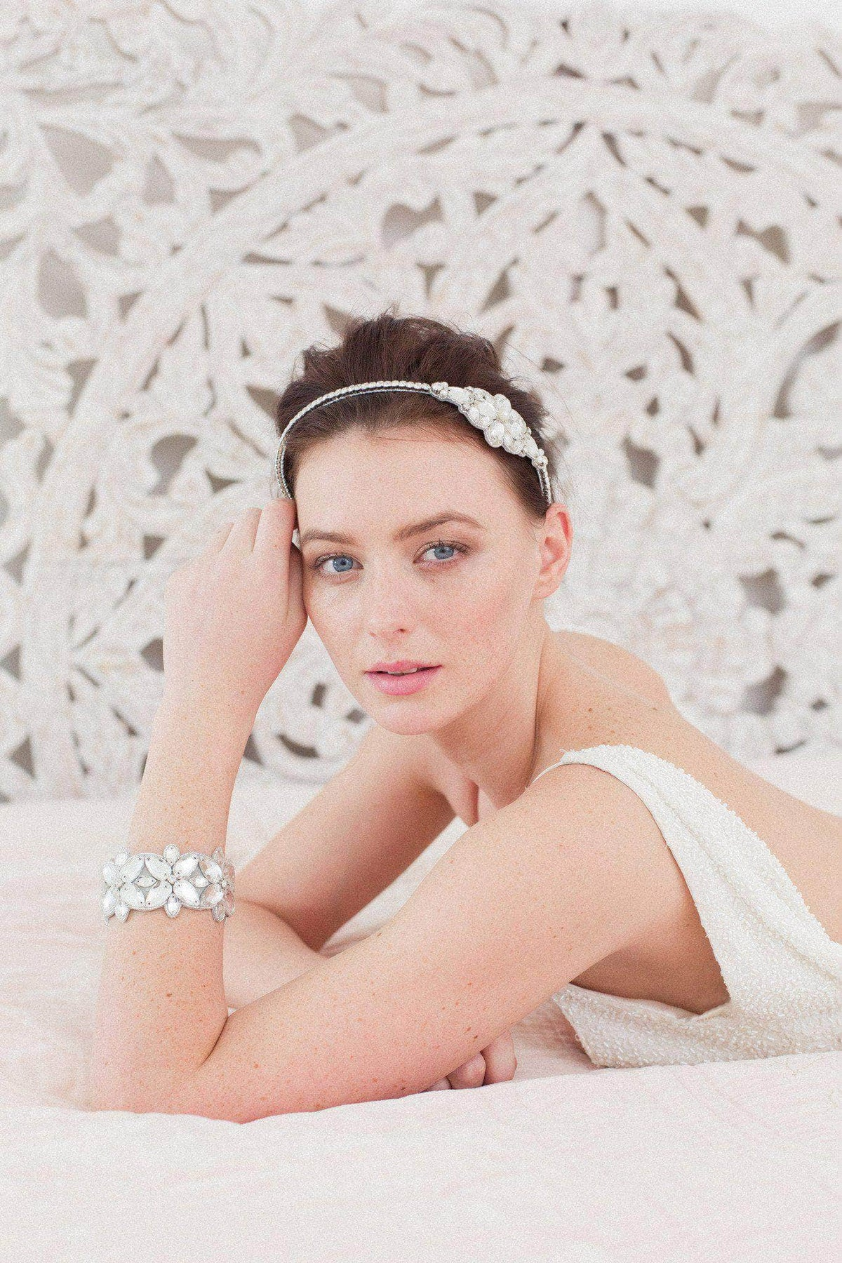 Statement silver wedding headband with crystals and pearls - 'Tulla'
