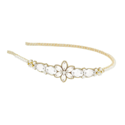 Gold crystal and pearl flower wedding headband
