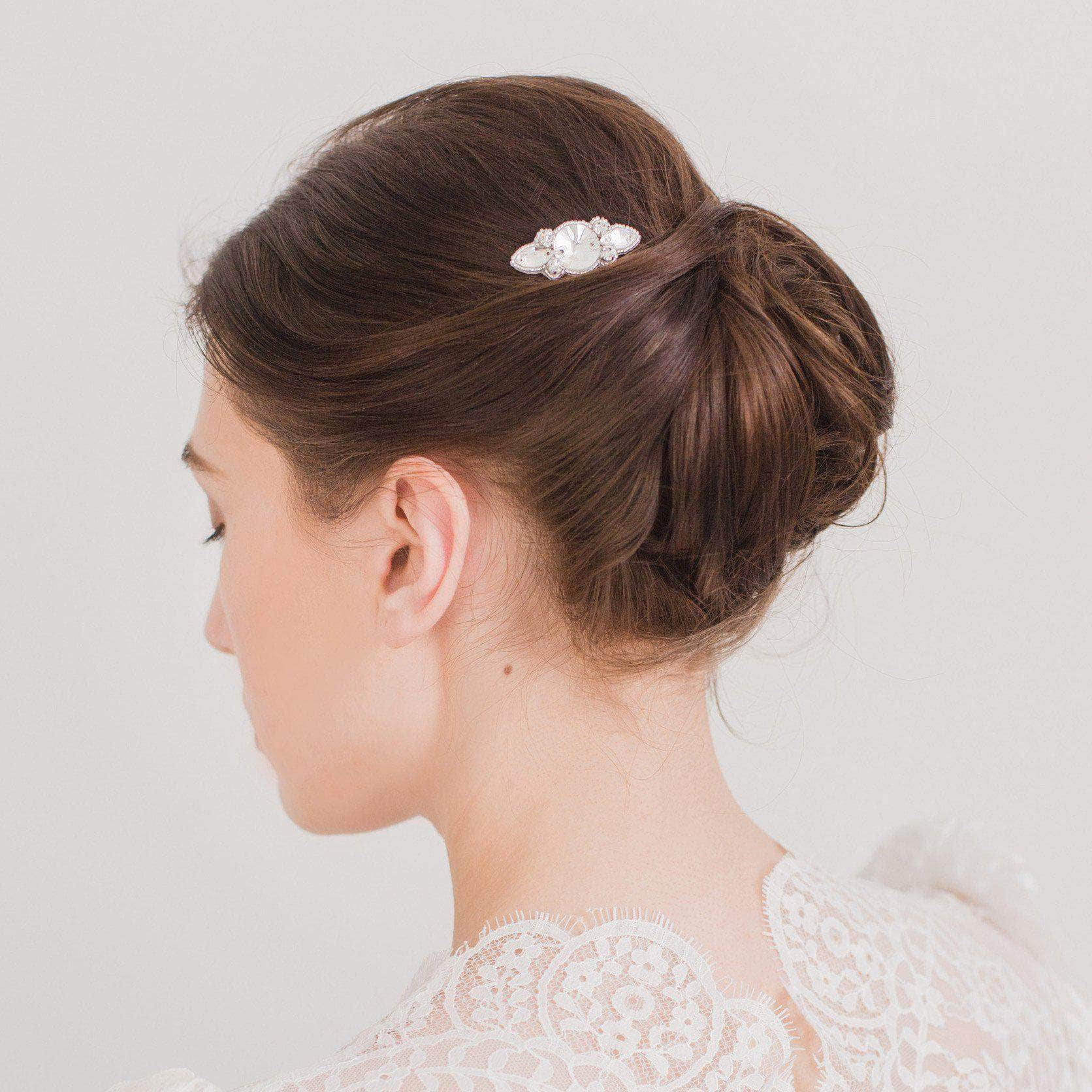 Wedding Haircomb Silver Small wedding hair comb - 'Atia'