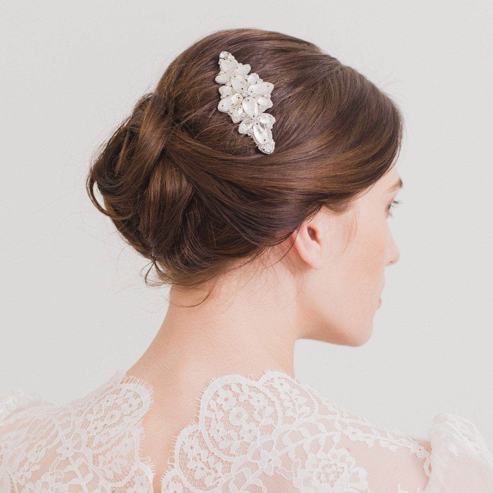 silver wedding hair comb