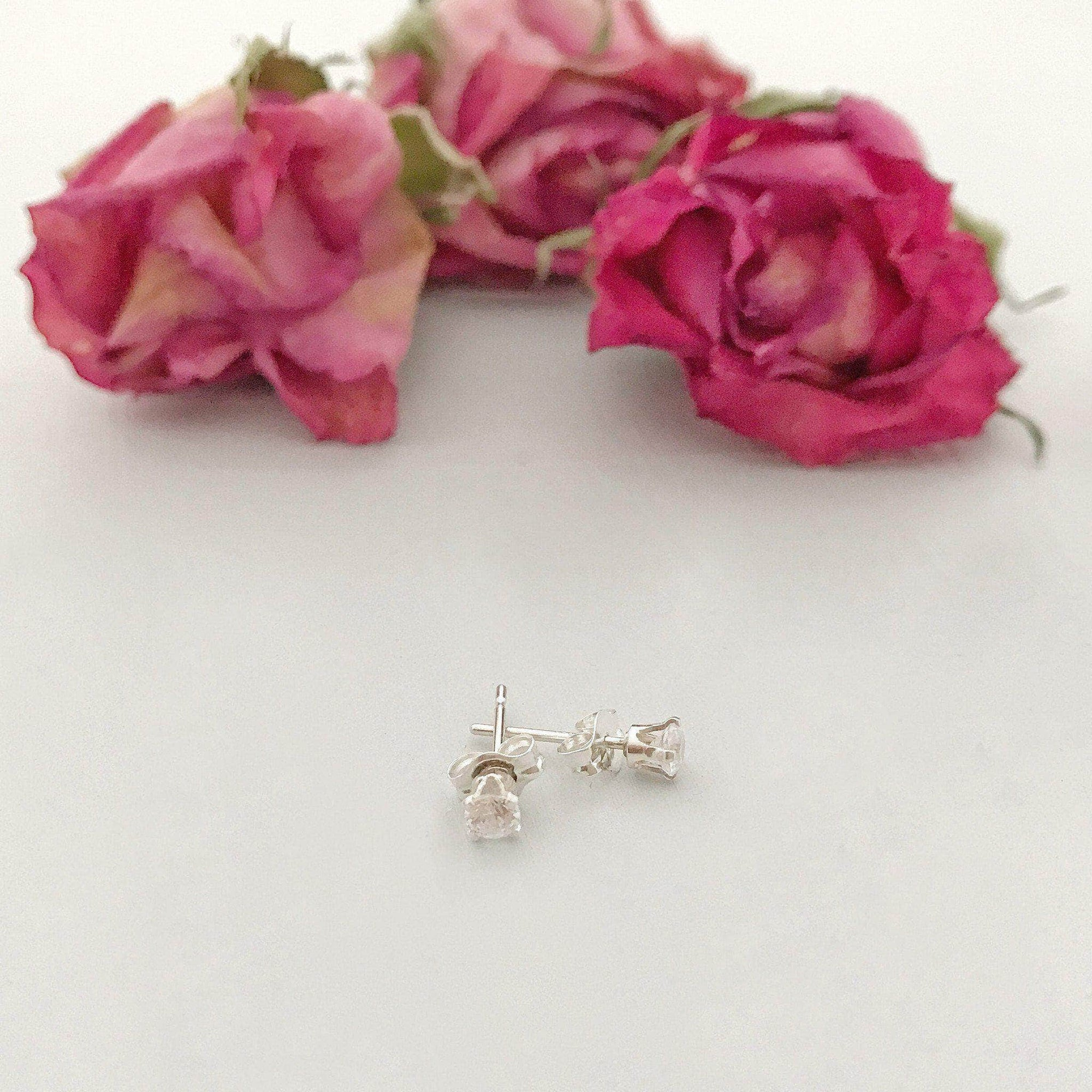 Wedding Earring Silver Crystal stud wedding earrings - 'Ida'