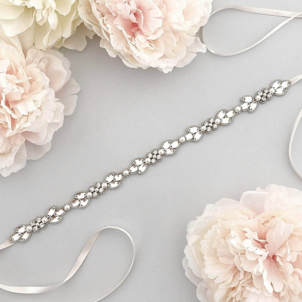 Wedding Belt Silver Crystal and pearl flower wedding belt - 'Evelyn'