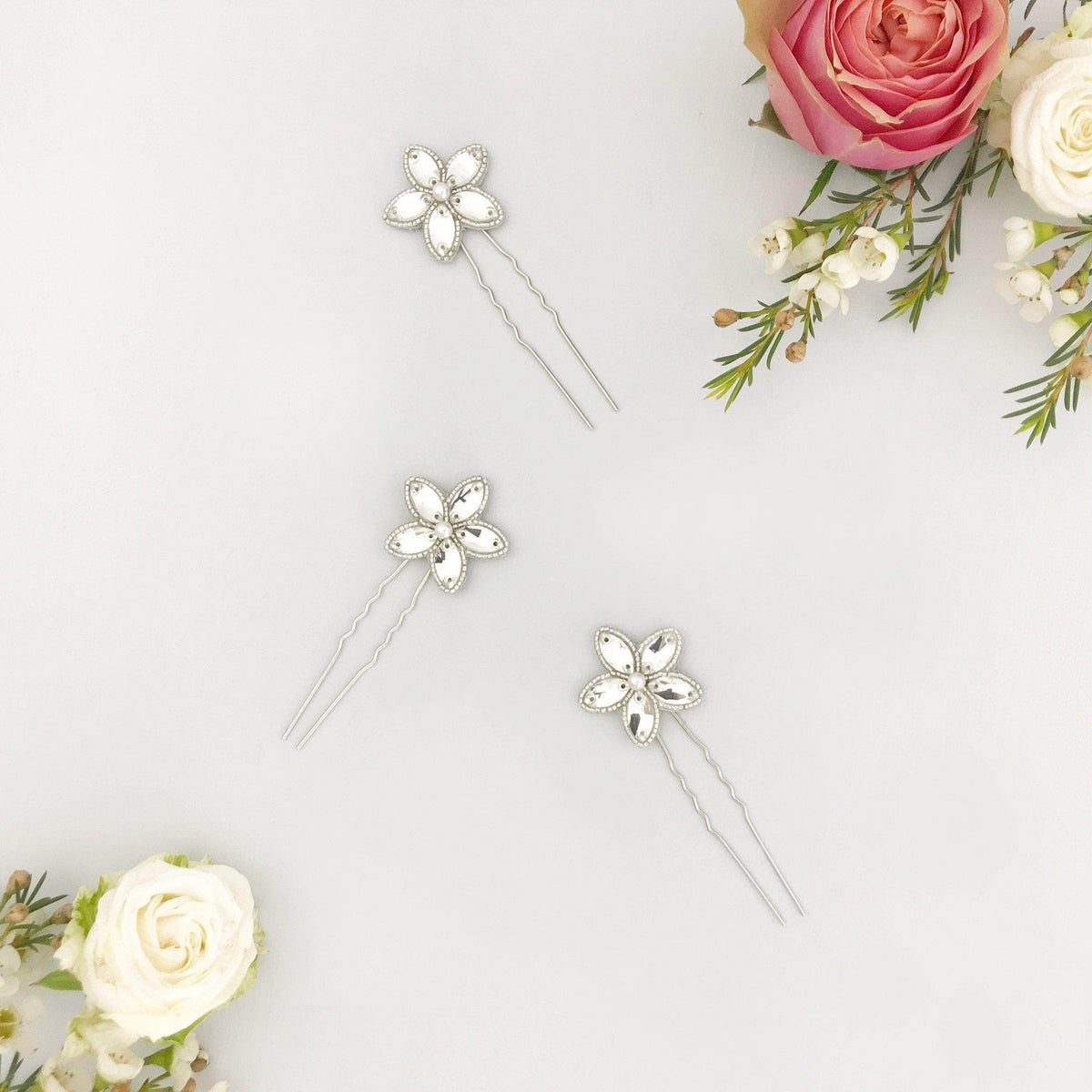 crystal flower wedding hair pins