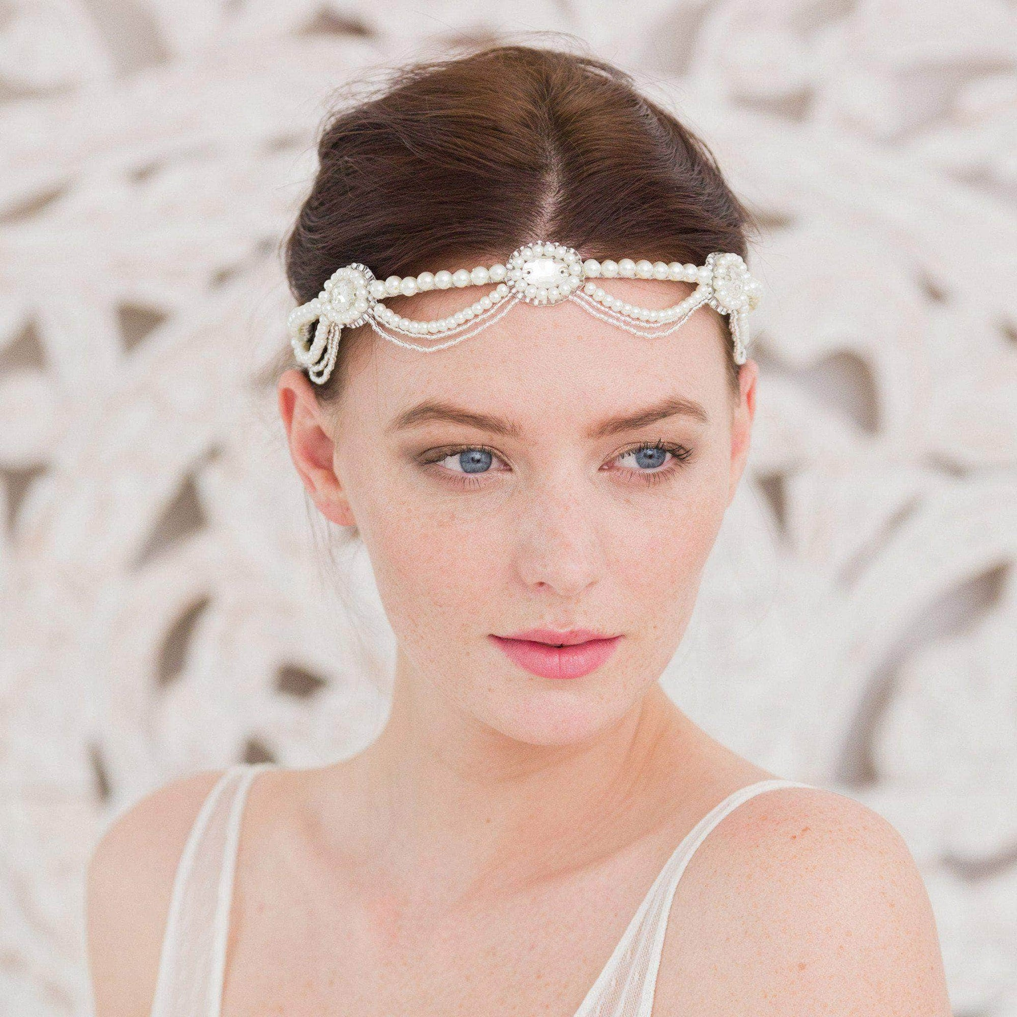 Wedding Headband Silver Statement 1920s style pearl wedding headband - 'Perle'
