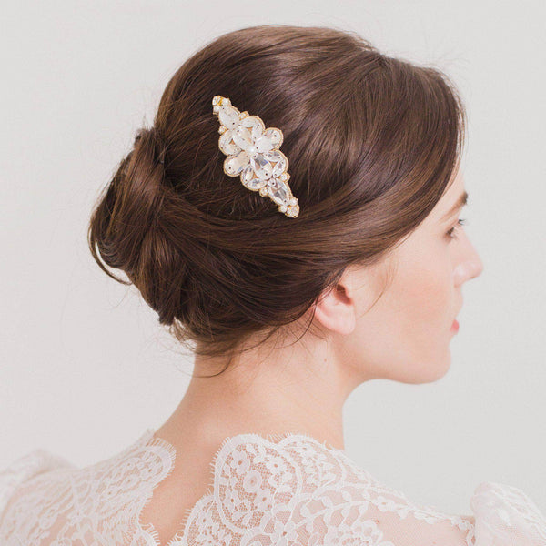 Floral Wedding Hair Comb By Britten: Crystal And Pearl Wedding Hair Comb - 'Tulla'