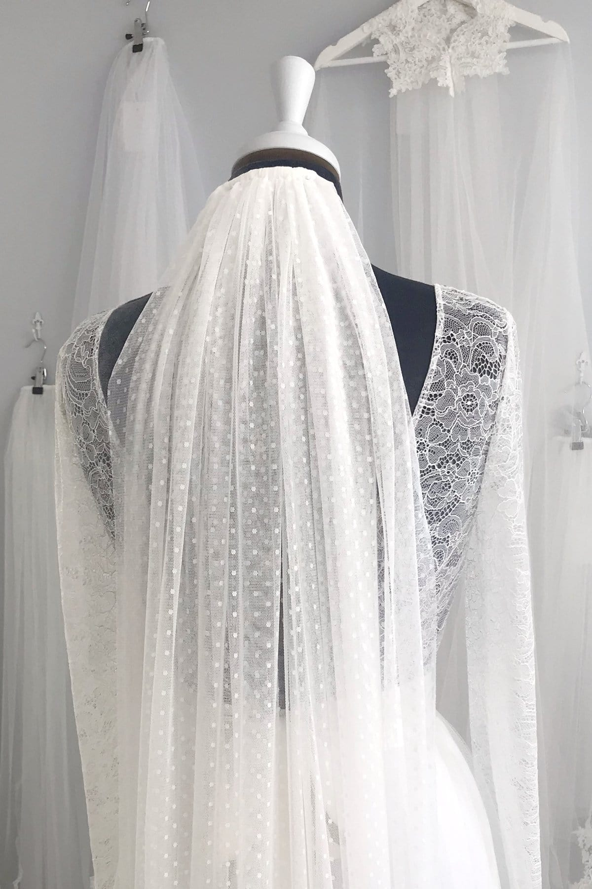 Wedding Veil Polka dot silk style tulle wedding veil - 'Dot'