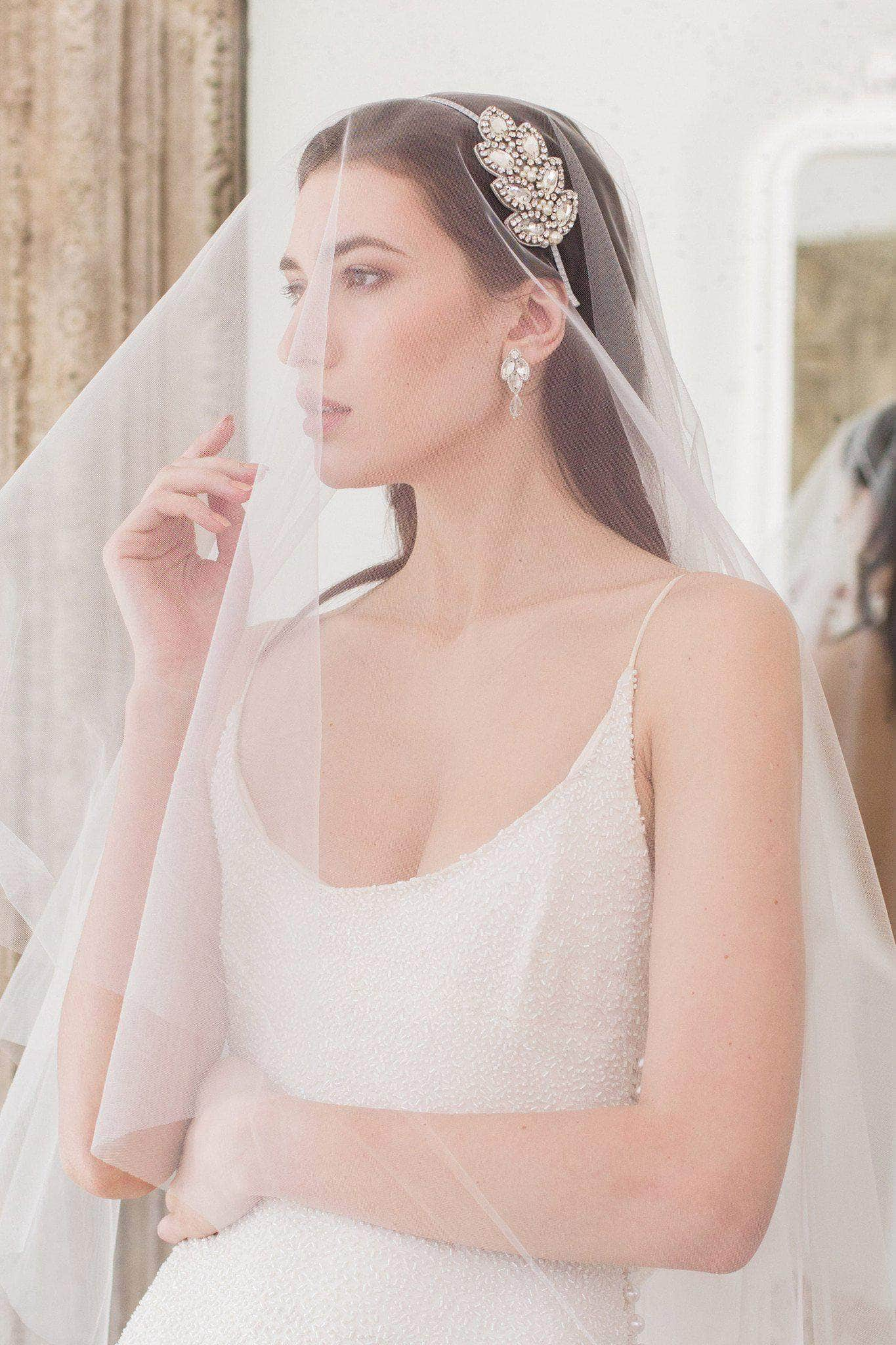 Drop wedding veil cut edge