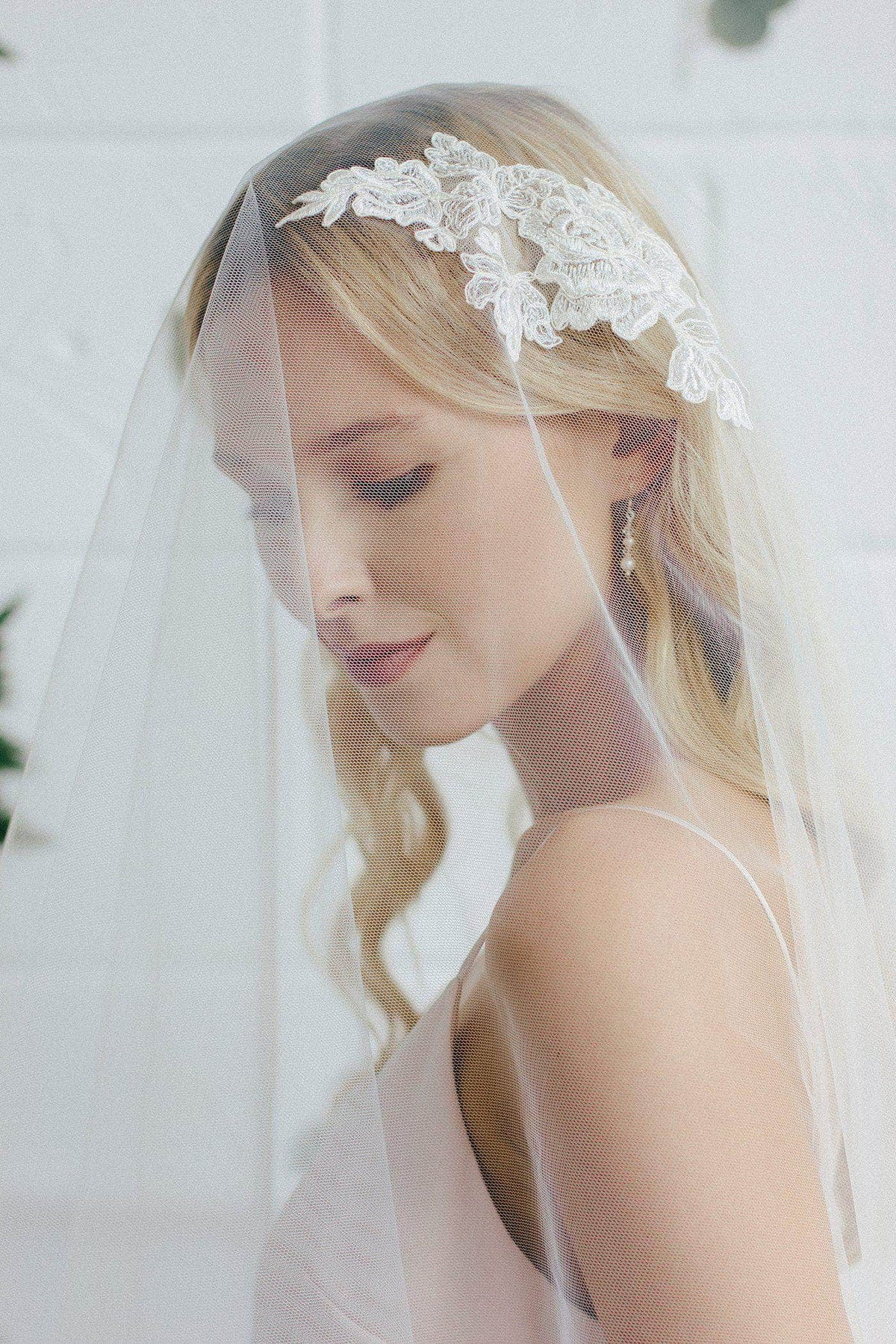 Wedding Veil Drop wedding veil with lace motif - 'Adora'