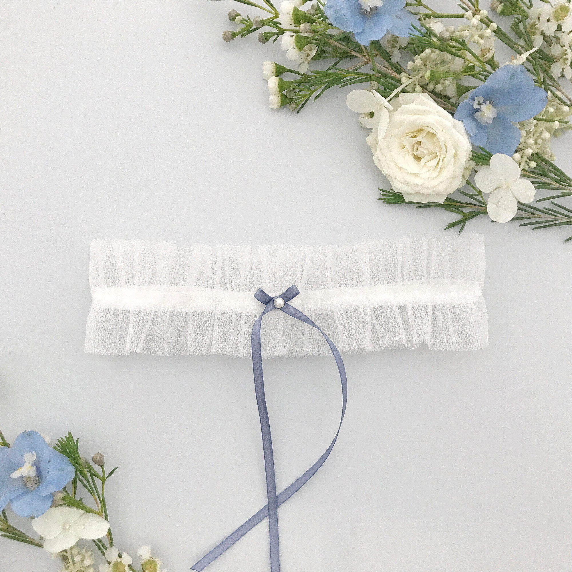 tulle garter with something blue bow