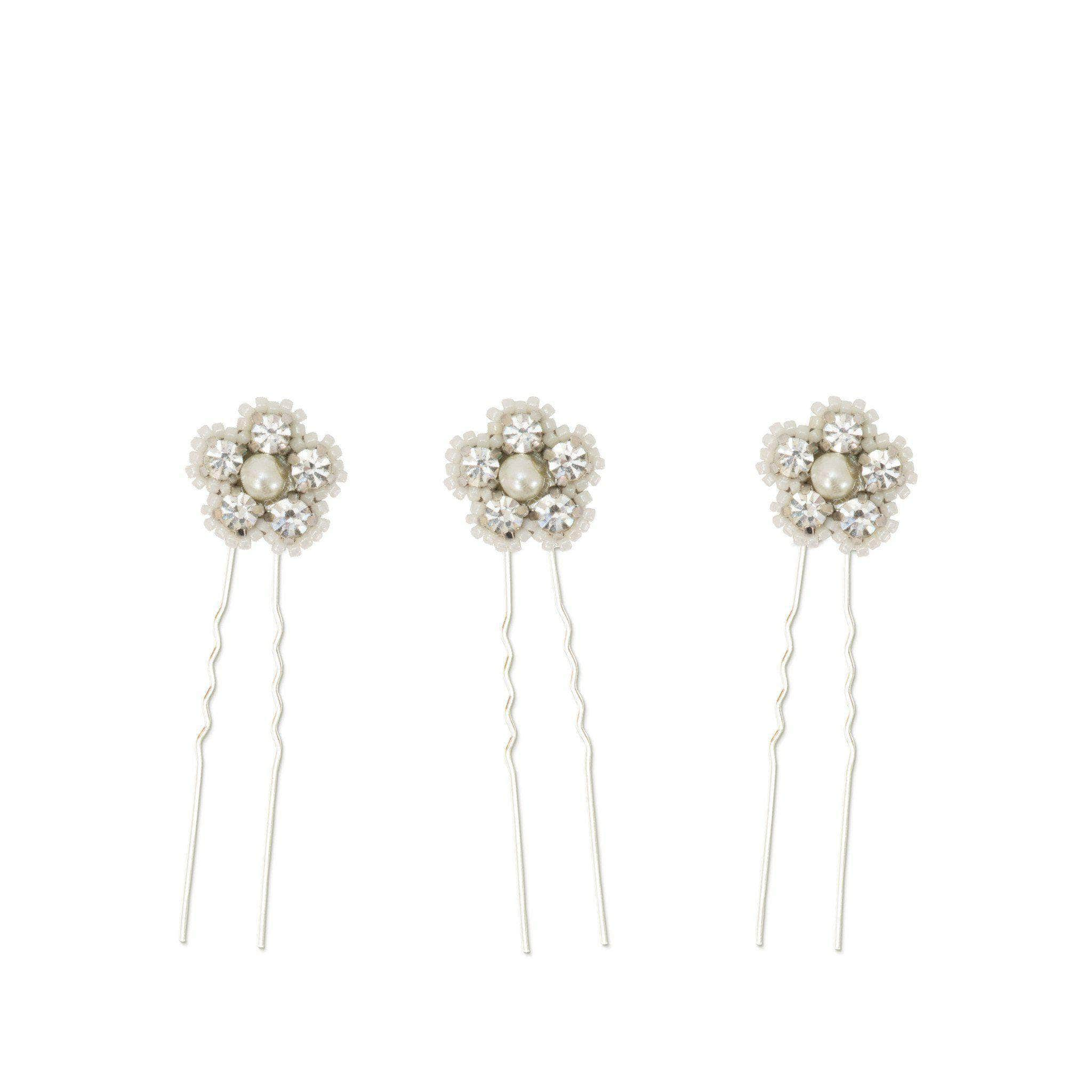 Ivory and silver flower wedding hair pins in crystal and pearl (x3) - 'Ema'