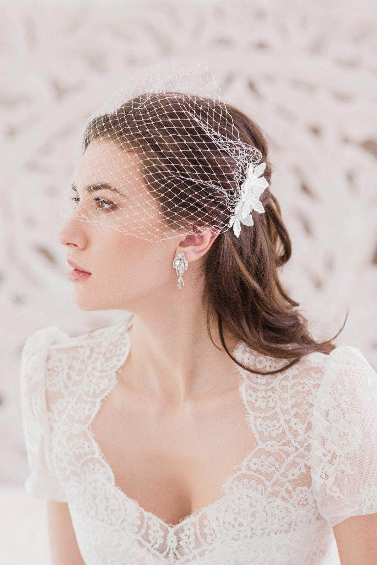 Wedding Veil Embellished bandeau wedding veil of Russian net - 'Alexandrova'