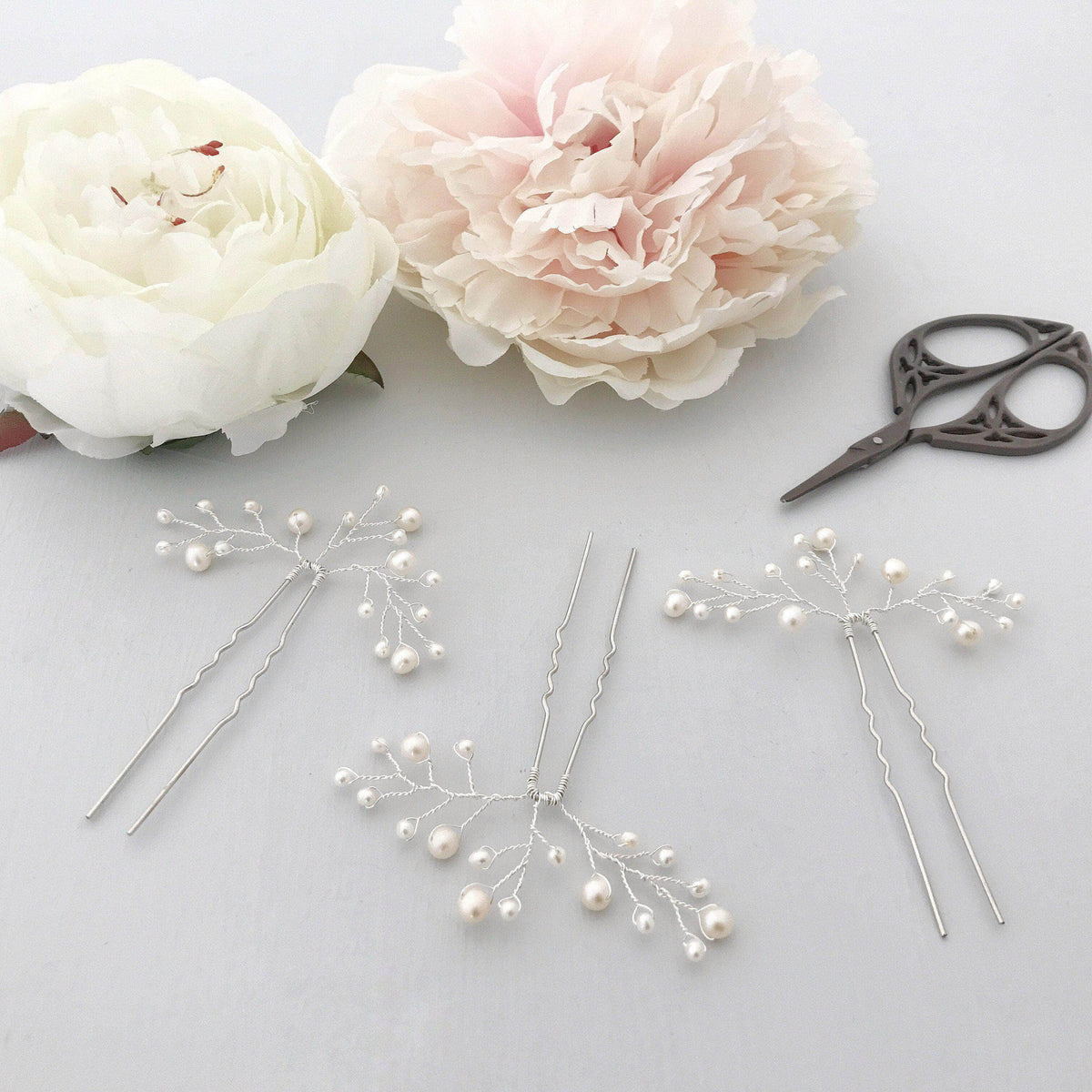 Wedding Hairpin Wedding hair pins silver with freshwater pearl spray (x3) - 'Eve'