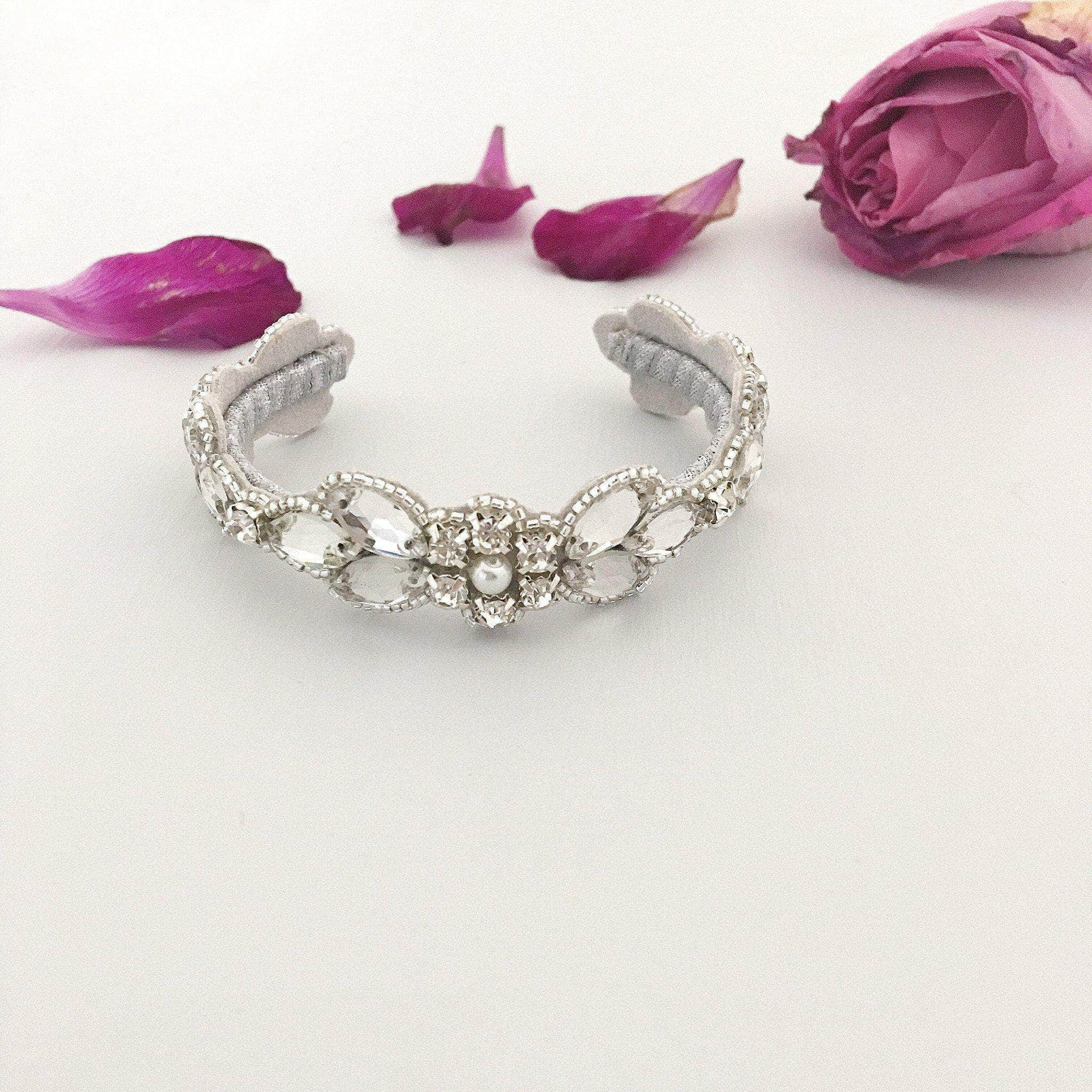 silver crystal wedding cuff