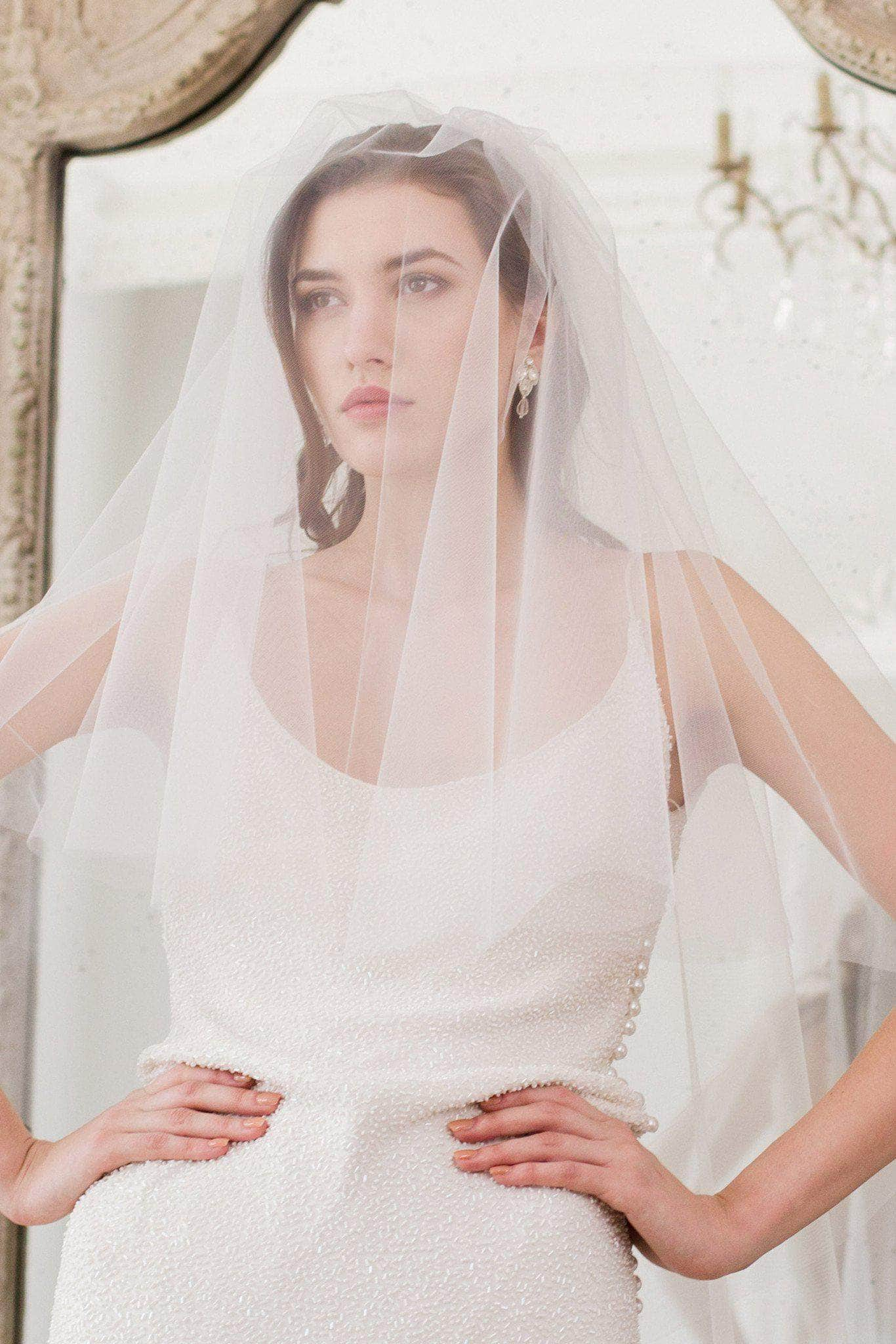 Fingertip wedding veil two tier cut edge