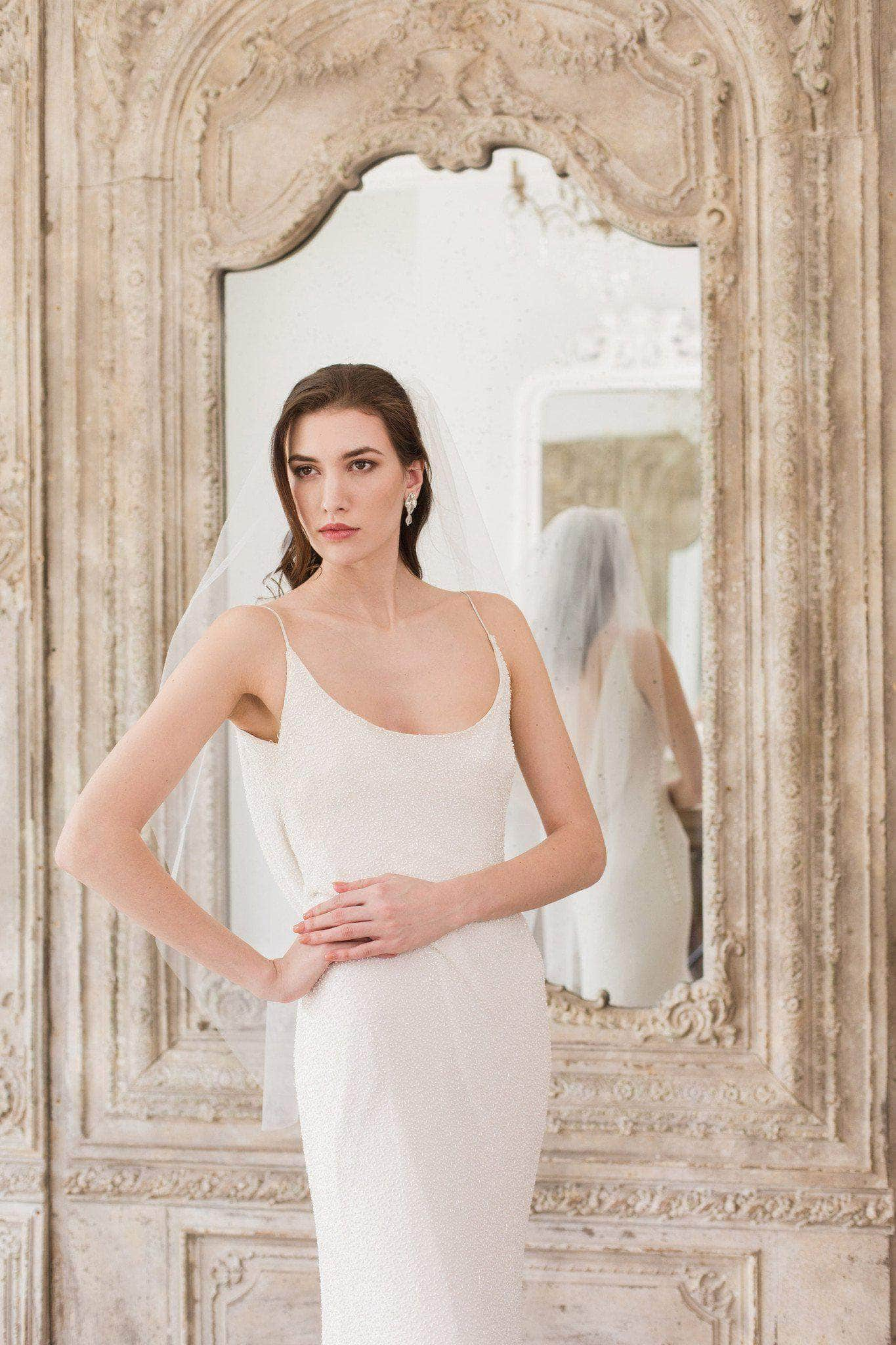 Wedding Veil Fingertip length single tier cut edge wedding veil - 'Niacae'