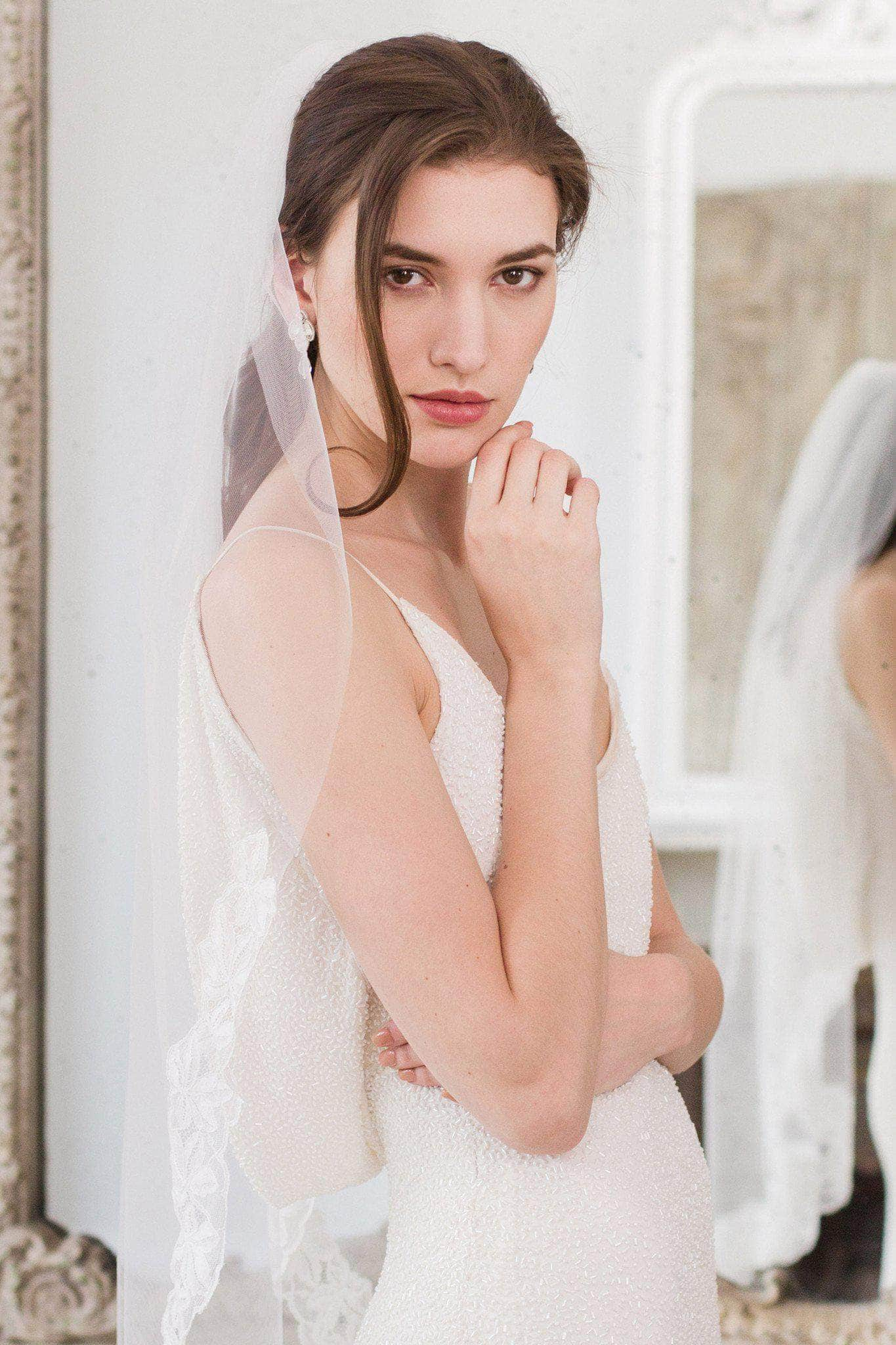 Wedding Veil Off white Fingertip length semi lace edged wedding veil - 'Calleva'