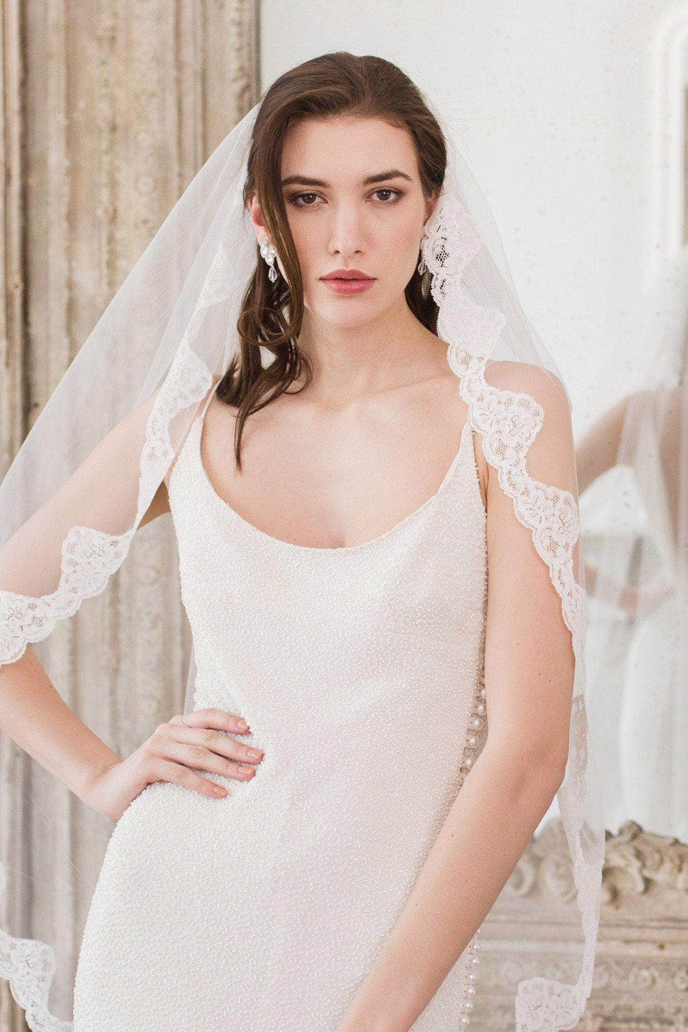 Fingertip lace edged wedding veil single tier