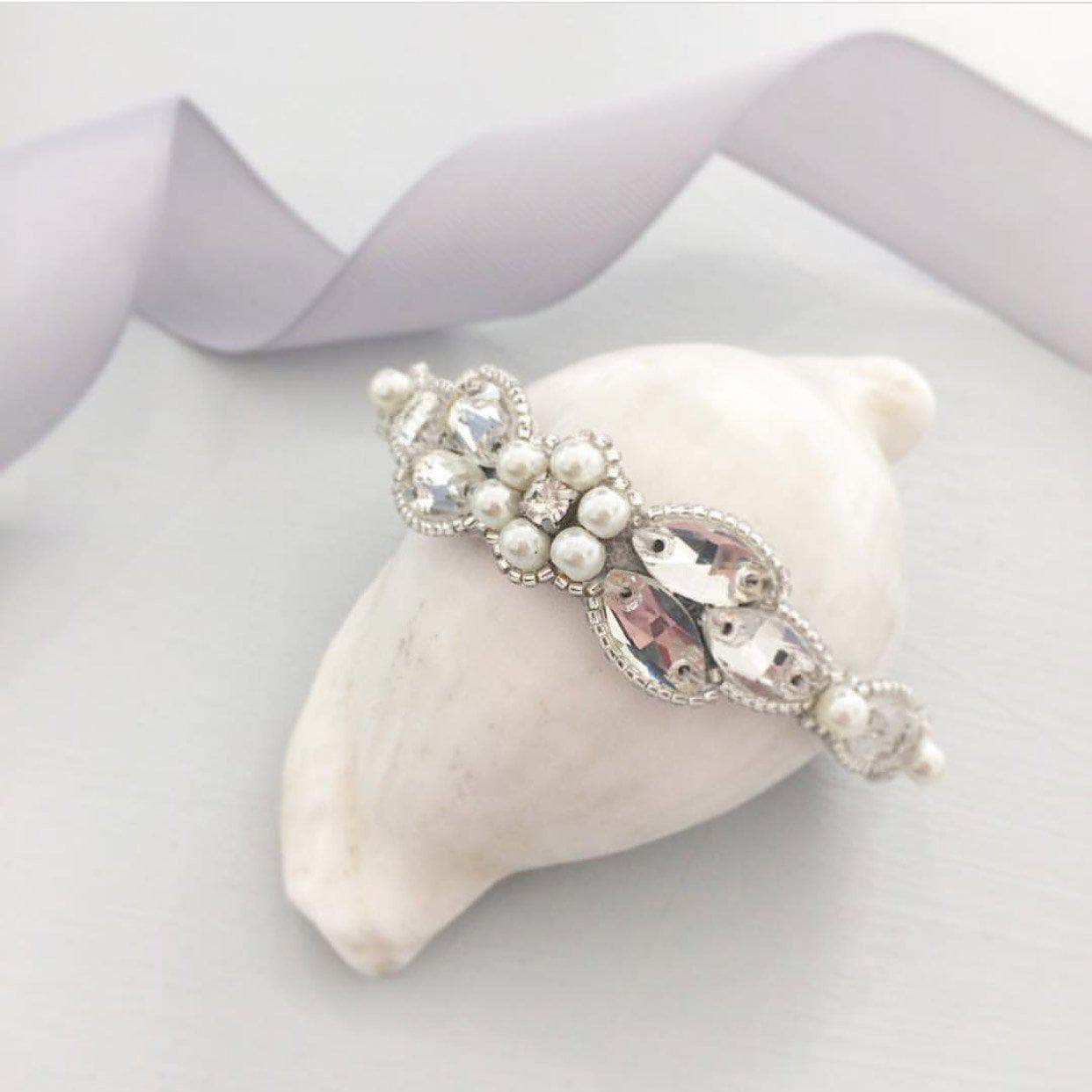 Wedding Cuff Silver Pearl and crystal wedding cuff - 'Fleur'
