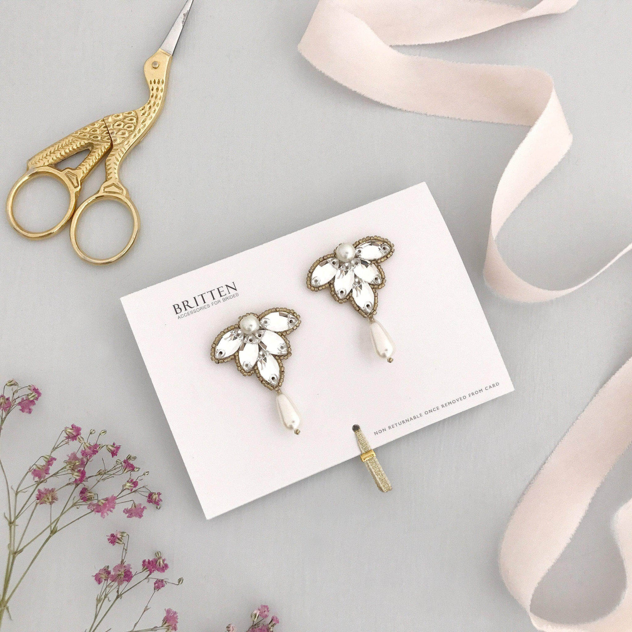Crystal wedding earrings gold and pearl - 'Florence'