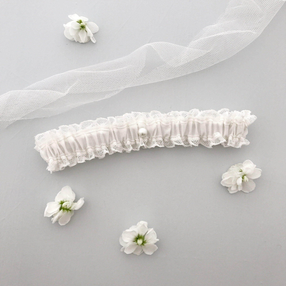Wedding Garter Ivory / Extra small 35-40cm (13.5-16 inch) Wedding garter in lace & silk (various colours) - 'Florence'