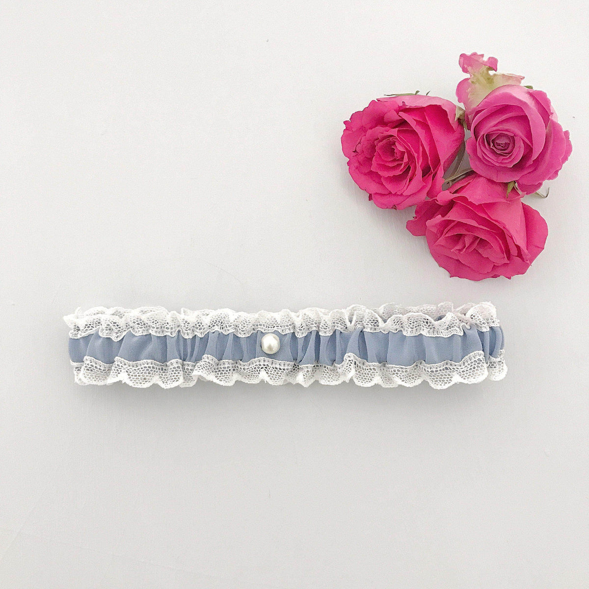 Wedding Garter Cornflower blue / Extra small 35-40cm (13.5-16 inch) Wedding garter in lace & silk (various colours) - 'Florence'