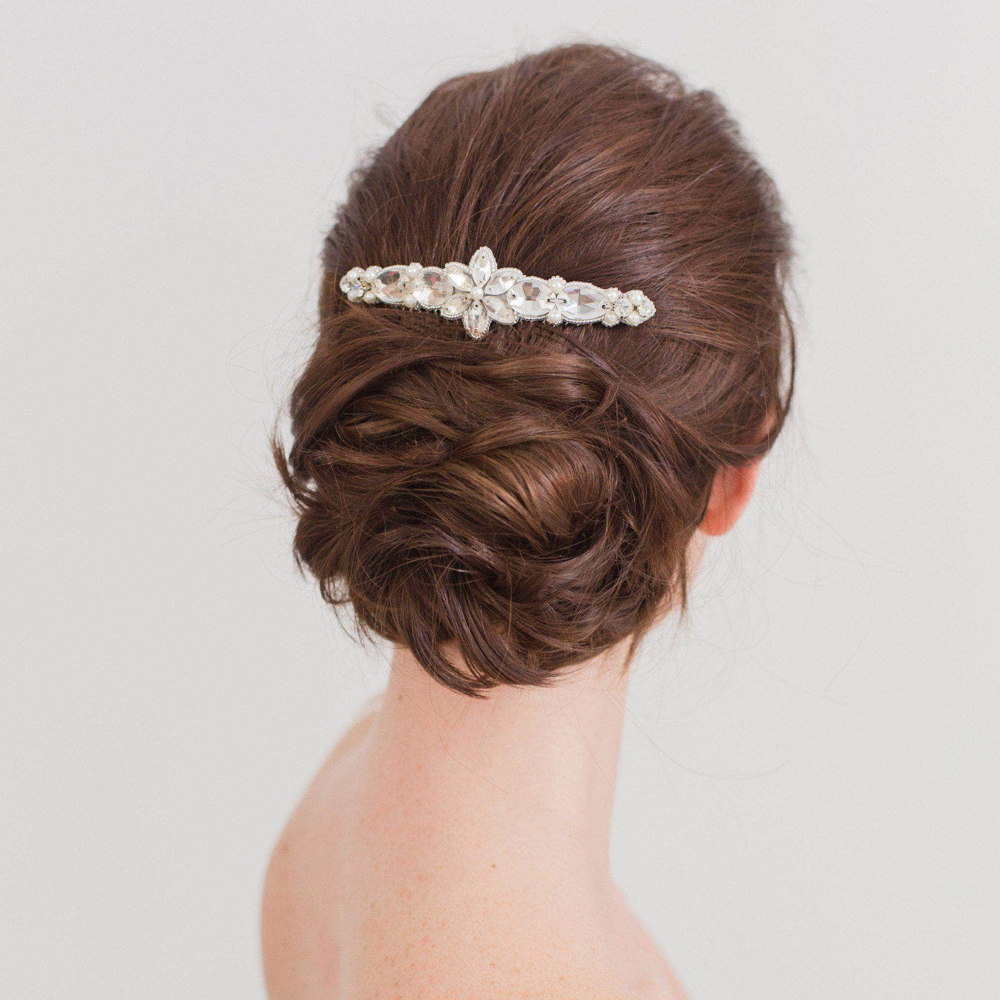silver crystal and pearl wedding hair comb- 'honoria' | britten weddings