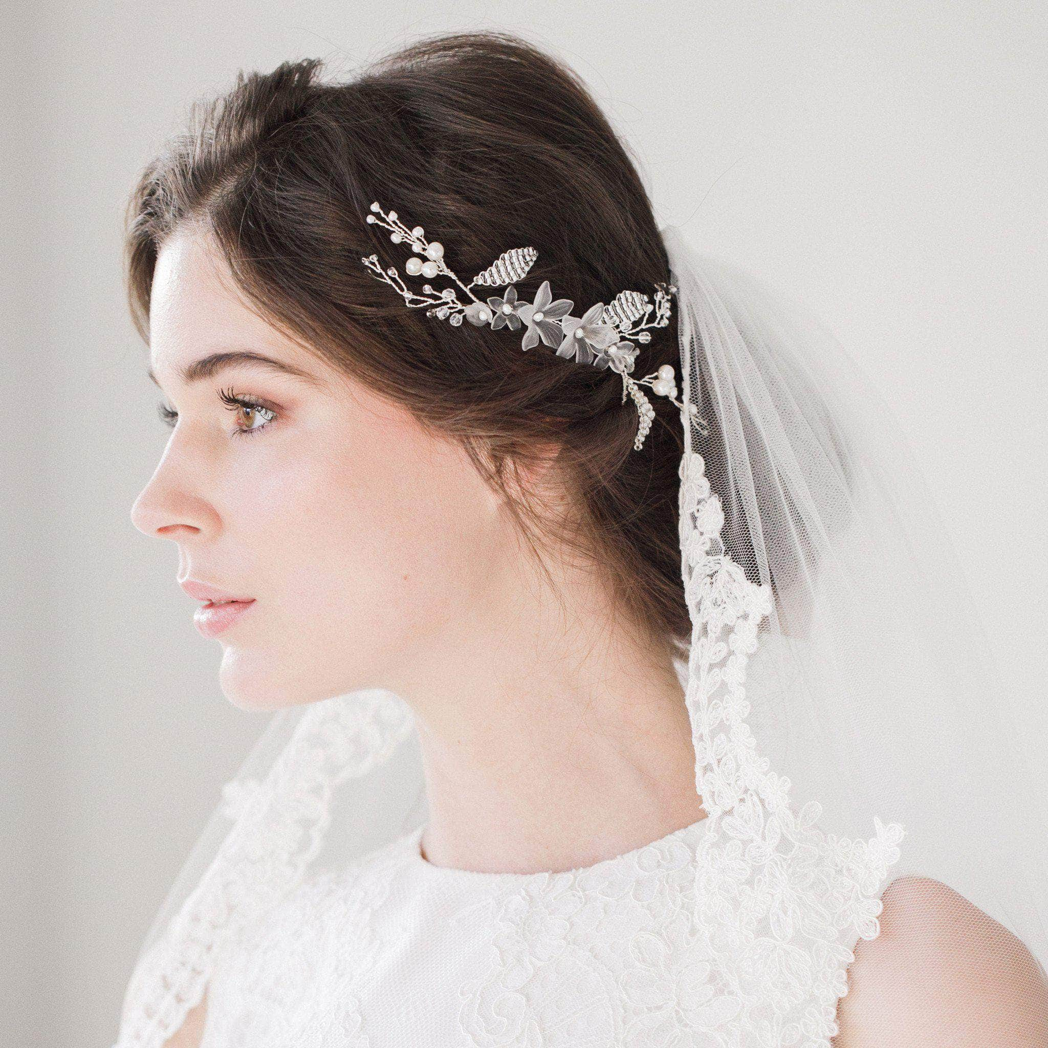 Floral Wedding Hair Comb By Britten: Silver Floral Wedding Hair Vine - 'Grace'