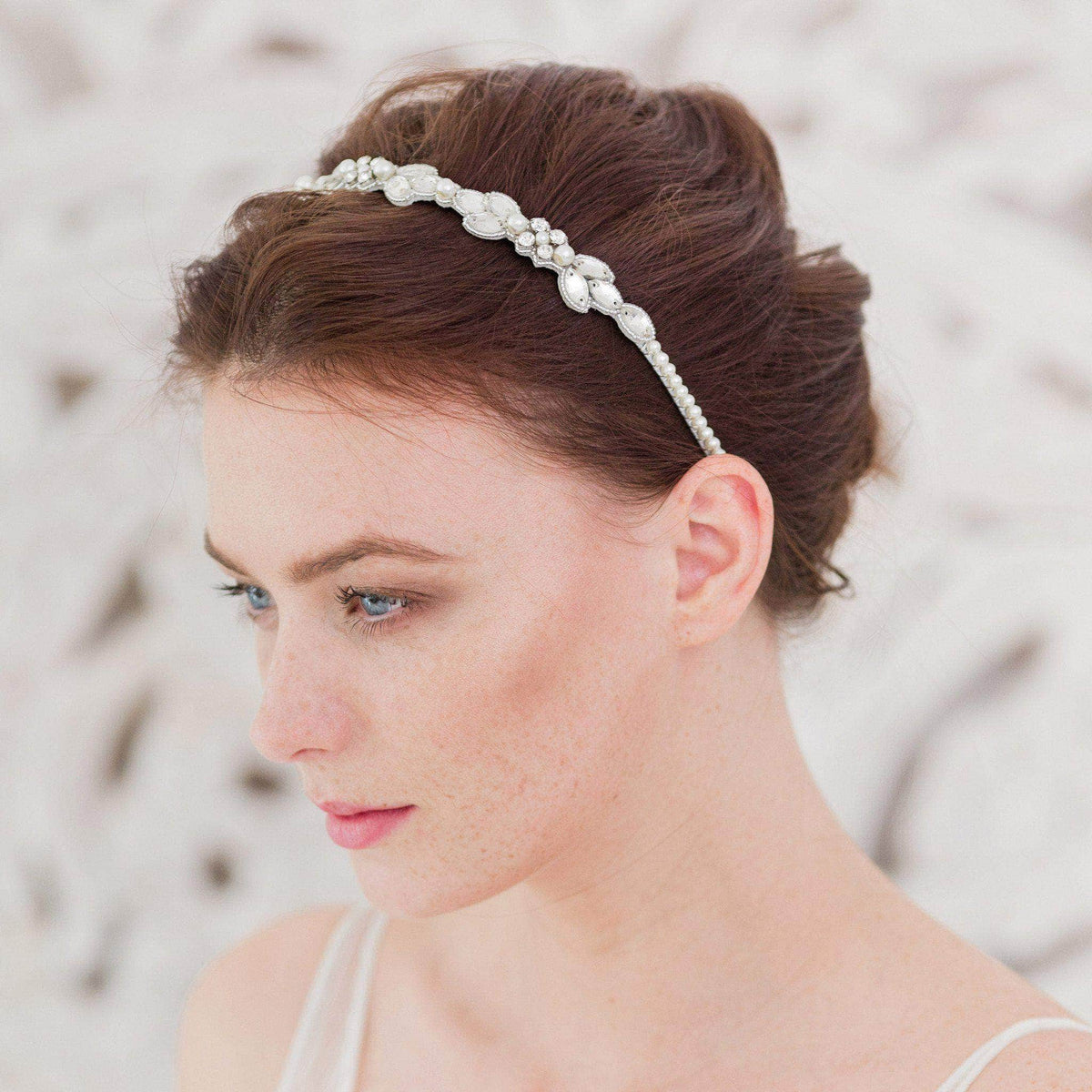 Wedding Headband Silver / Silver sparkle (as in images) Pearl and crystal silver wedding headband 'Evelyn'